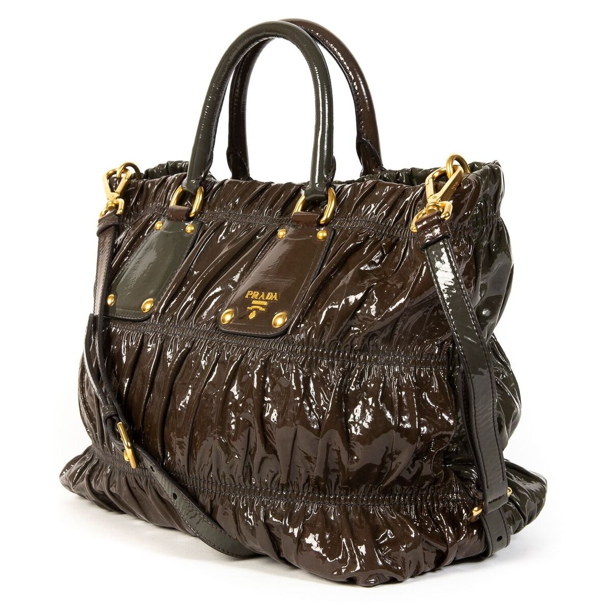 Buy this authentic second-hand vintage Prada Duotone Patent Leather Tote Bag at online webshop LabelLOV.