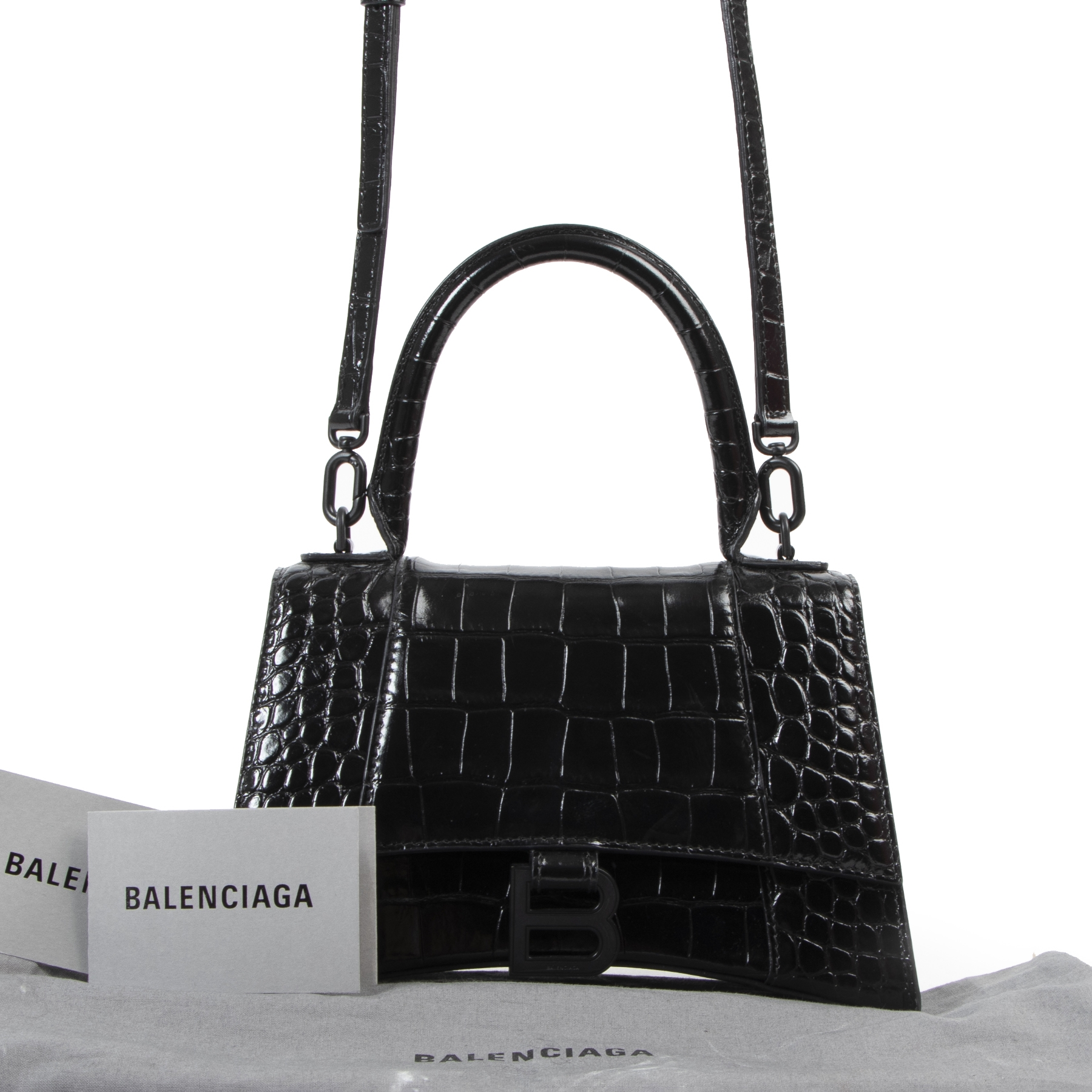 100% authentic Balenciaga Black Croco Hourglass Small Top Handle Bag for the best price