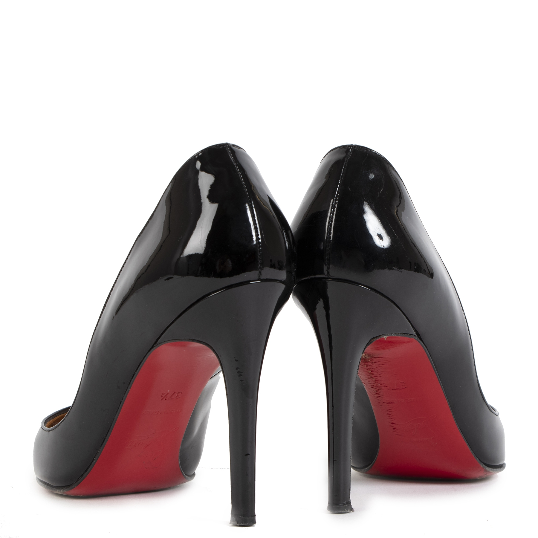 Authentieke tweedehands vintage Louboutin Pigalle Patent Leather Pumps - Size 37,5 koop online webshop LabelLOV