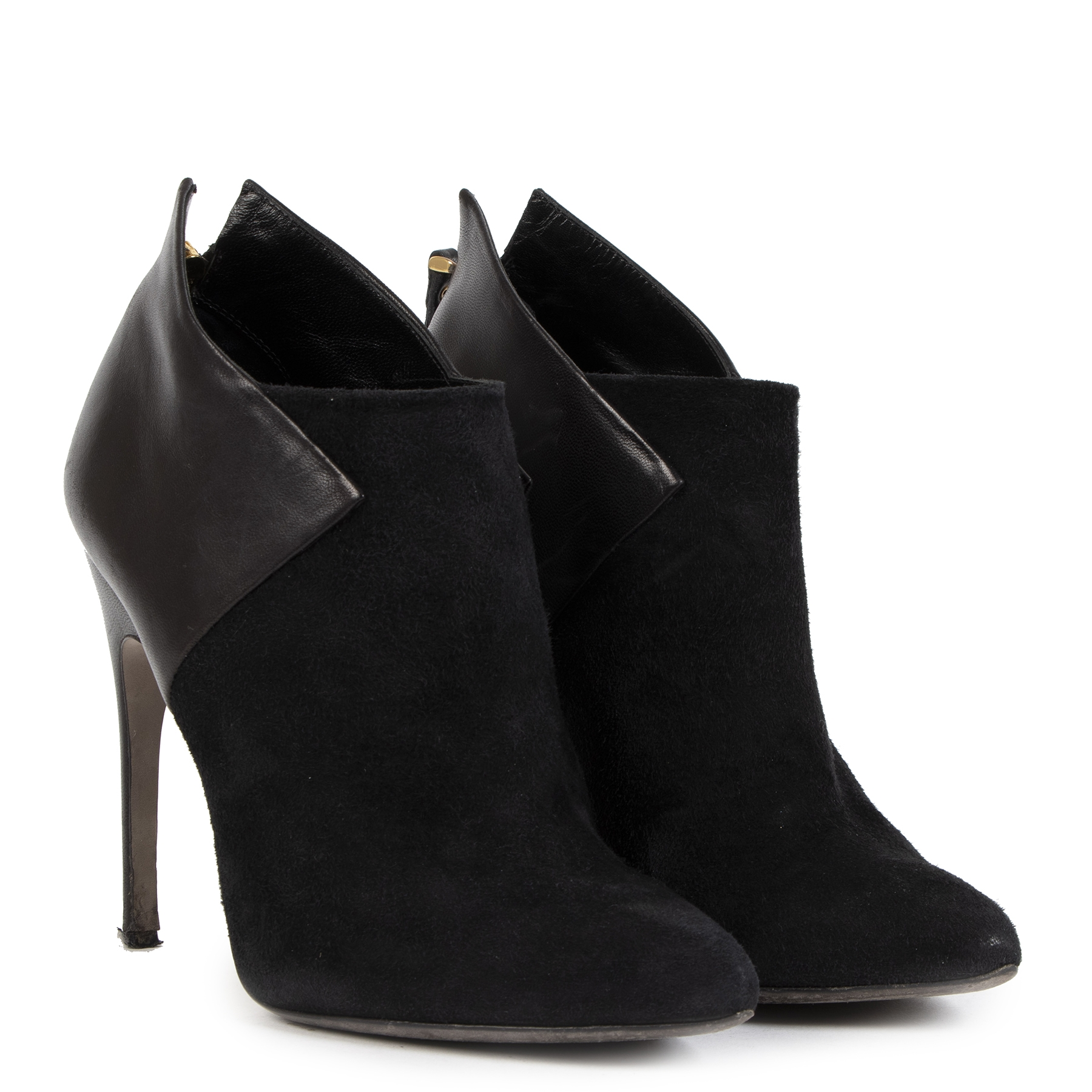 Sergio Rossi Black Suede Ankle Boots - Size 37 1/2