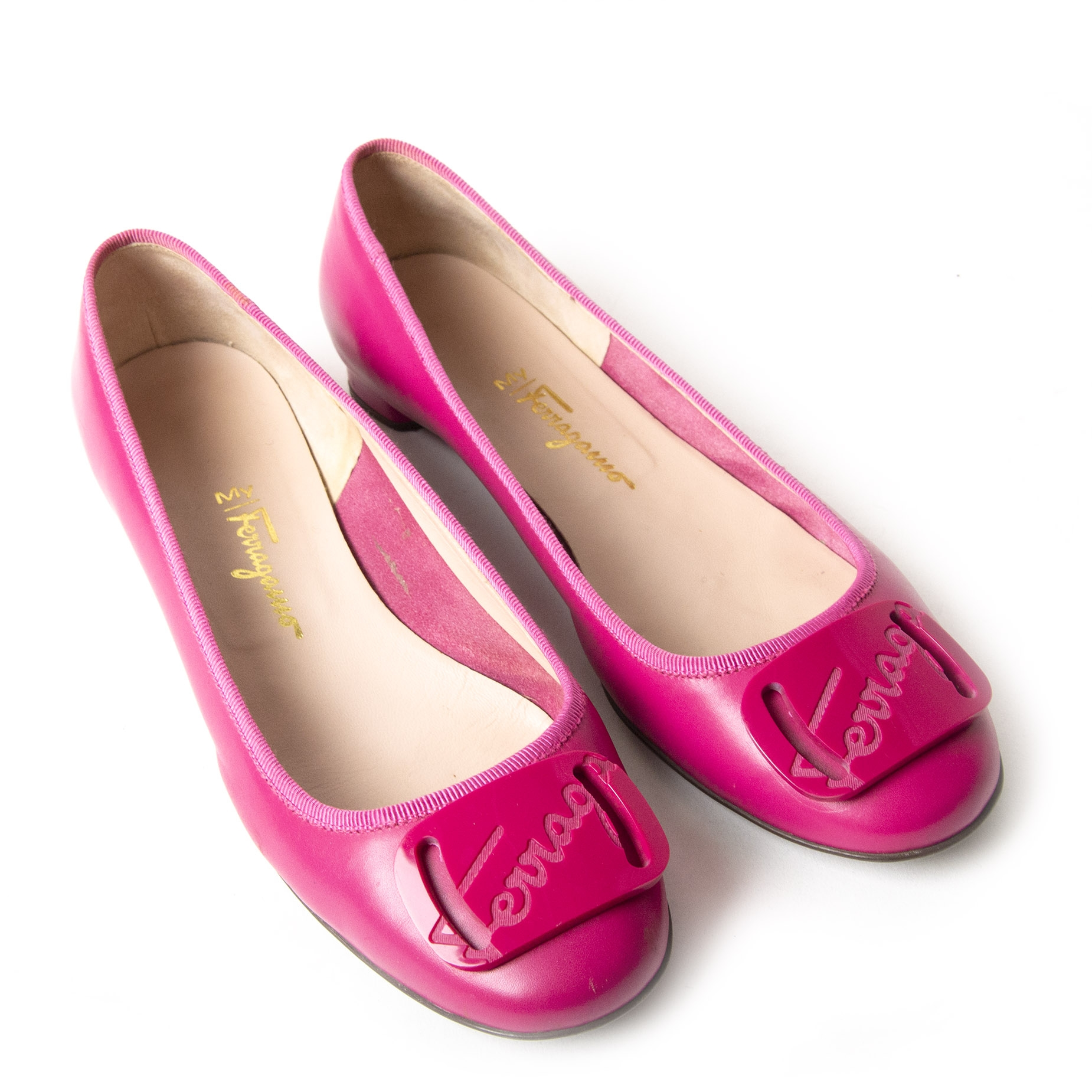 Authentic second-hand vintage Ferragamo My Charm Ballet Flats buy online webshop LabelLOV
