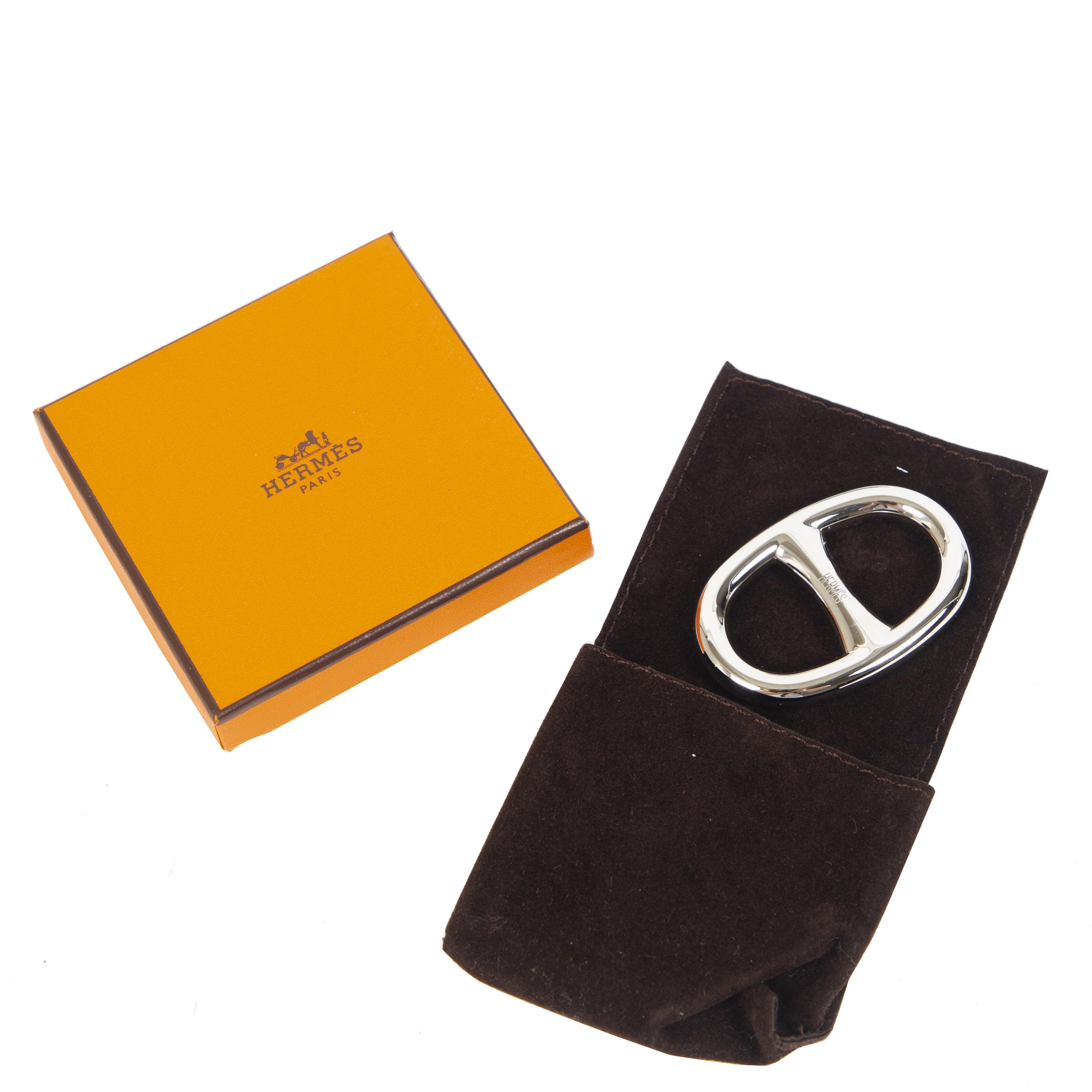 shop safe online Hermes Palladium Chaine d'Ancre Scarf Ring