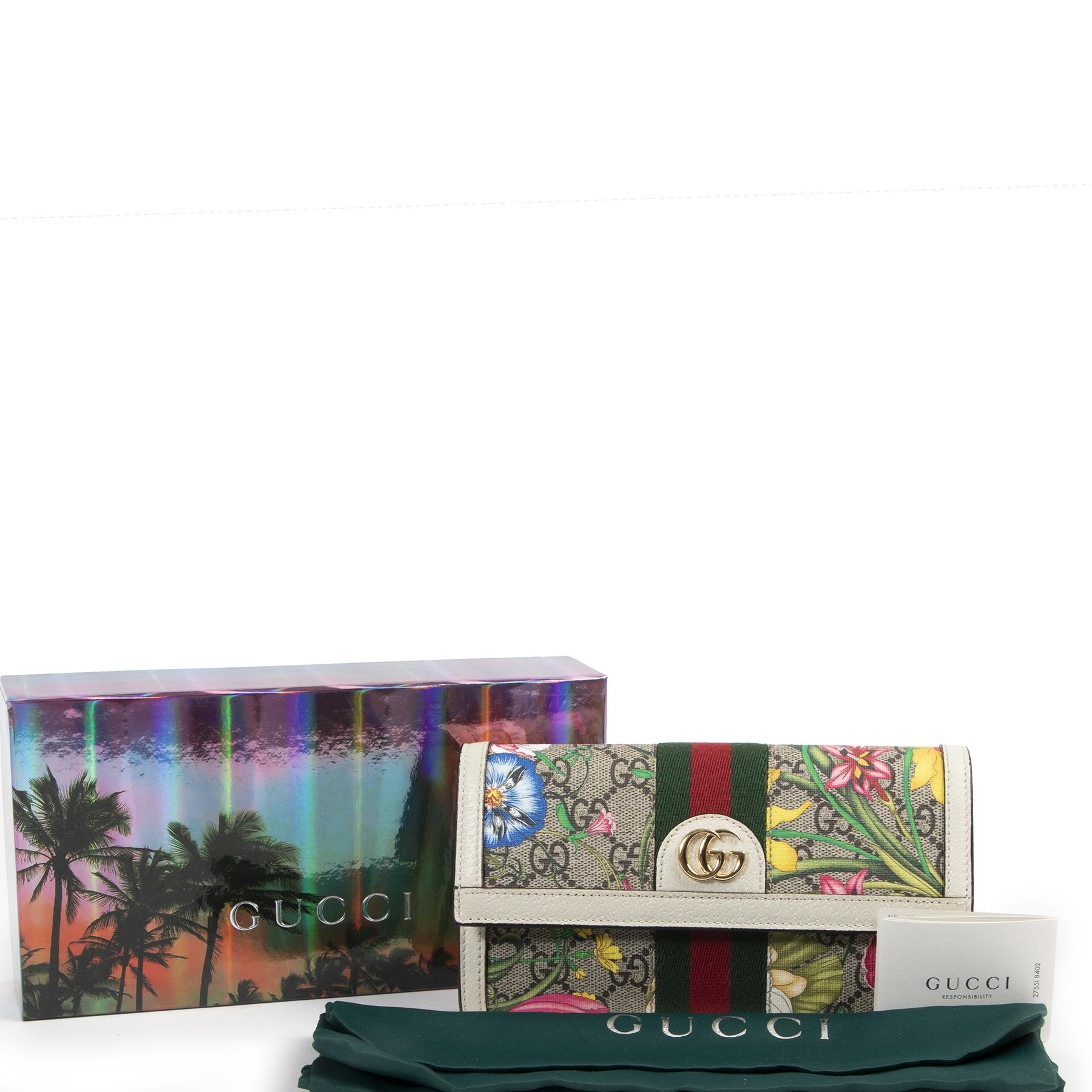 koop veilig online tegen de beste prijs Gucci Ophidia GG Flora continental wallet