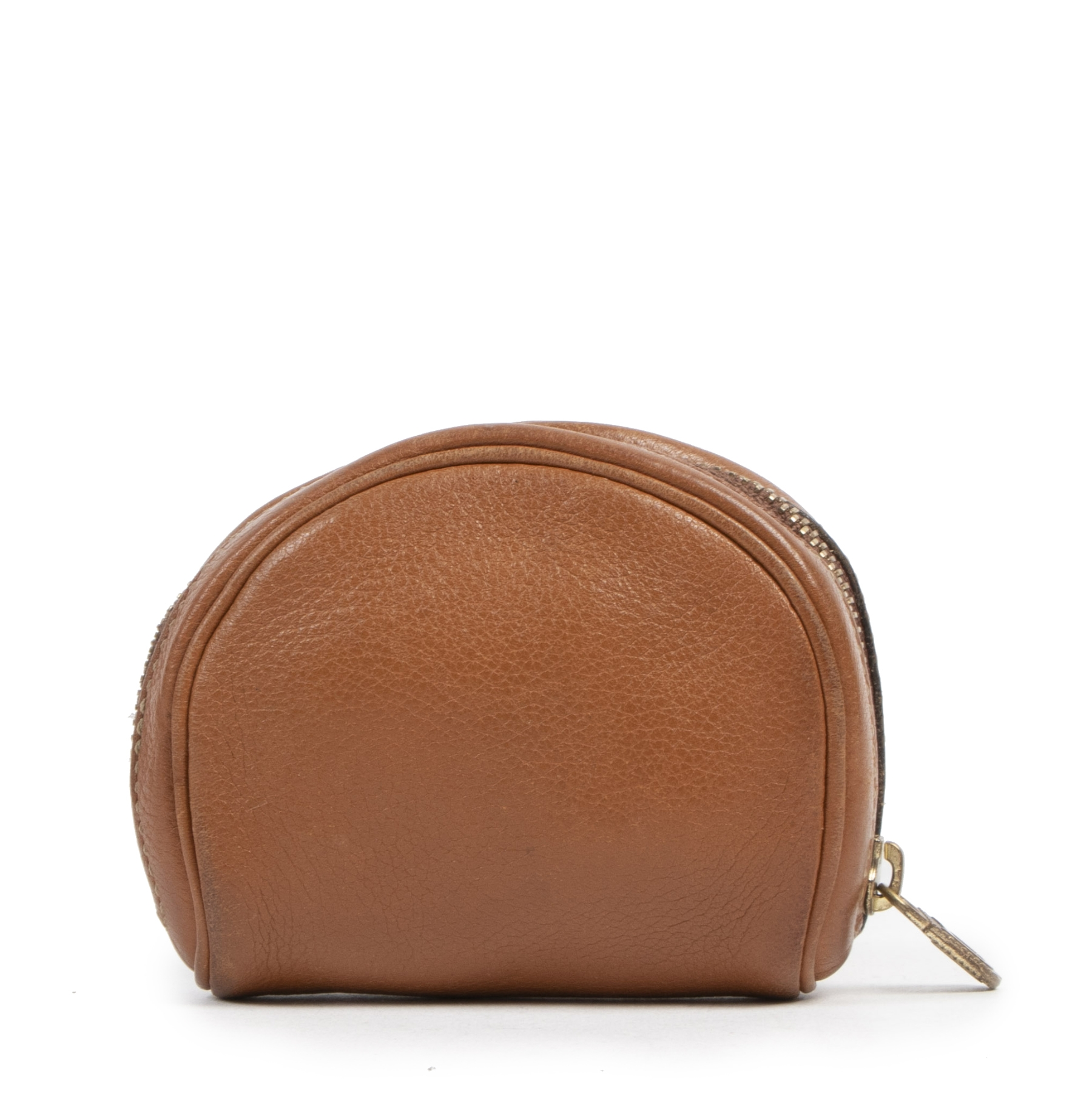 Authentieke tweedehands vintage Delvaux Cognac Leather Coin Purse koop online webshop LabelLOV