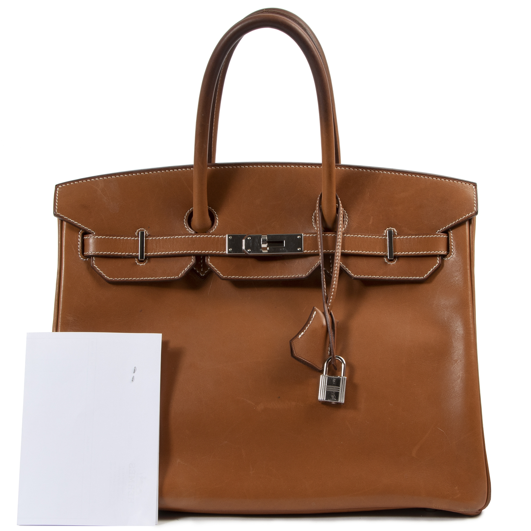 Hermès Birkin 35 Barenia Fauve PHW  for the best price at Labellov secondhand luxury in Antwerp