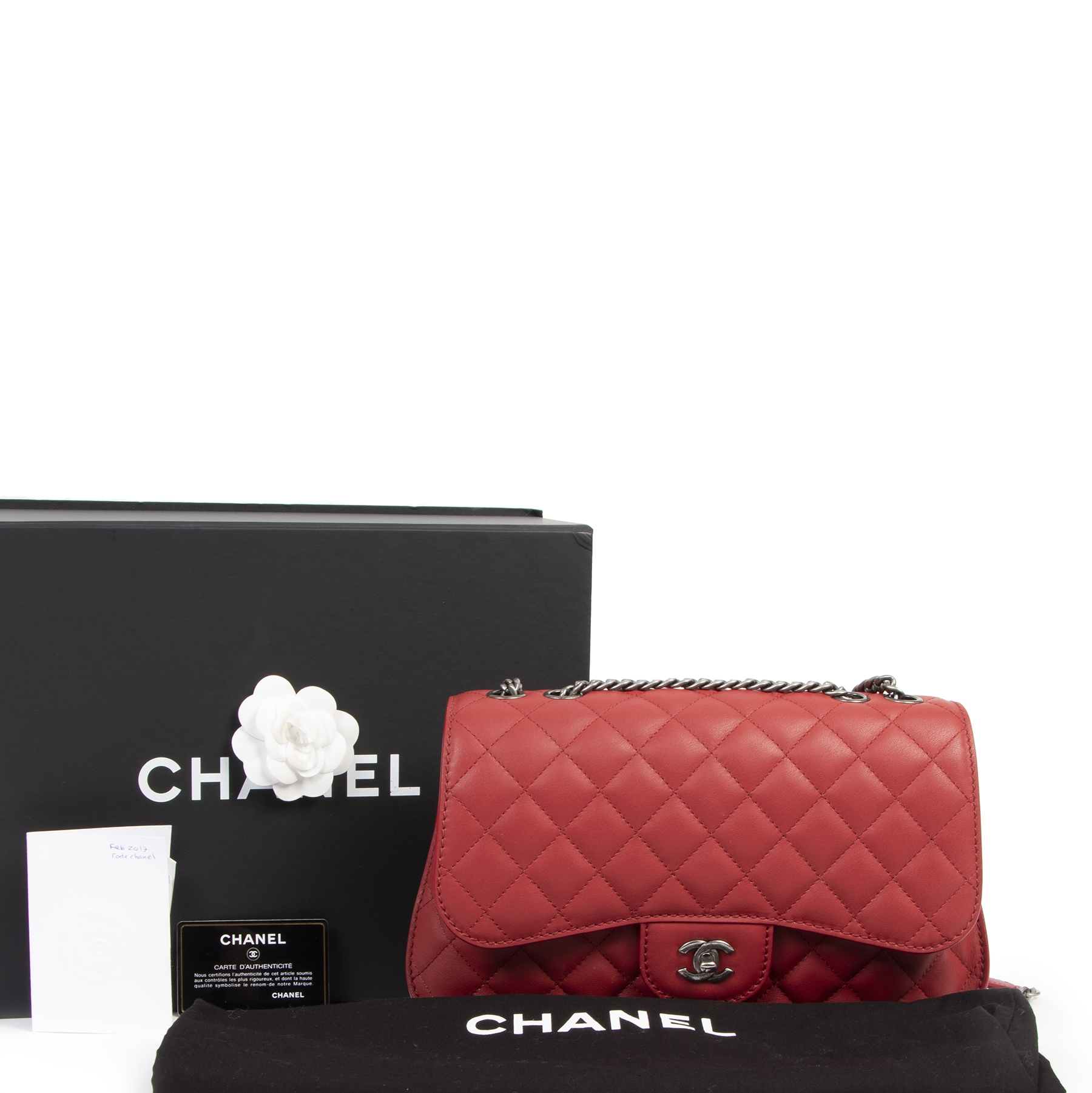 Chanel Red Sheepskin Flap Bag