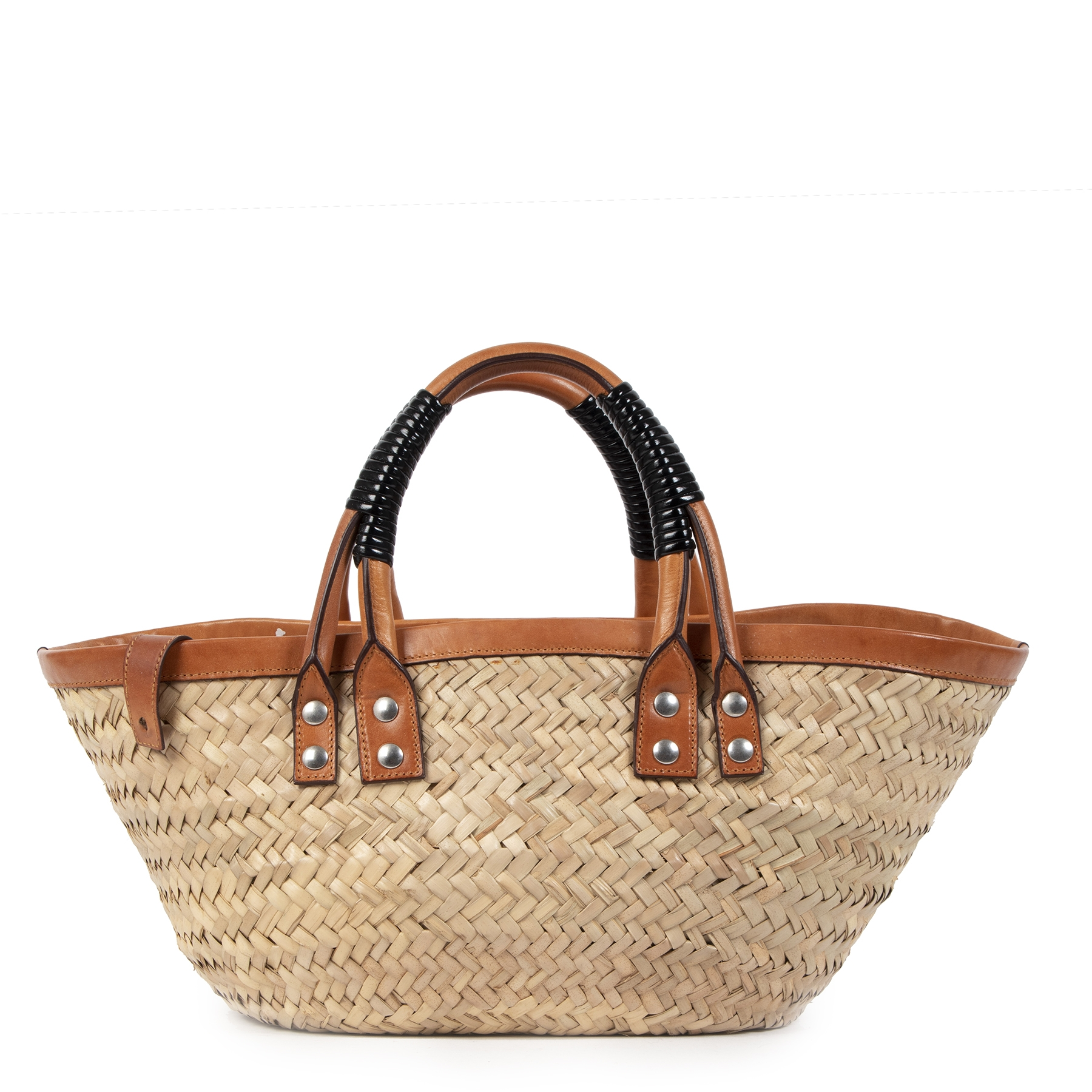 Balenciaga Bistrot Panier woven Beige Small Top Handle Bag