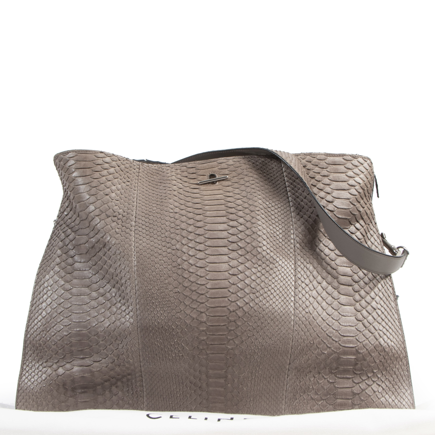 Authentieke tweedehands vintage Celine Taupe Python Shoulder Bag koop online webshop LabelLOV