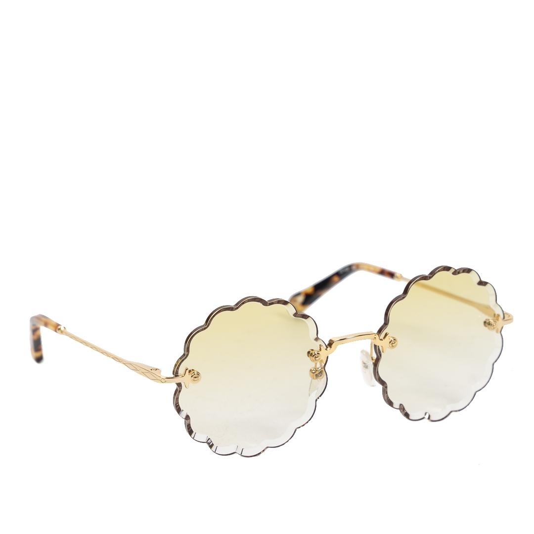 Authentieke Tweedehands Chloé Rosie Flower Gold/Yellow Shaded Sunglasses juiste prijs veilig online shoppen luxe merken webshop winkelen Antwerpen België mode fashion