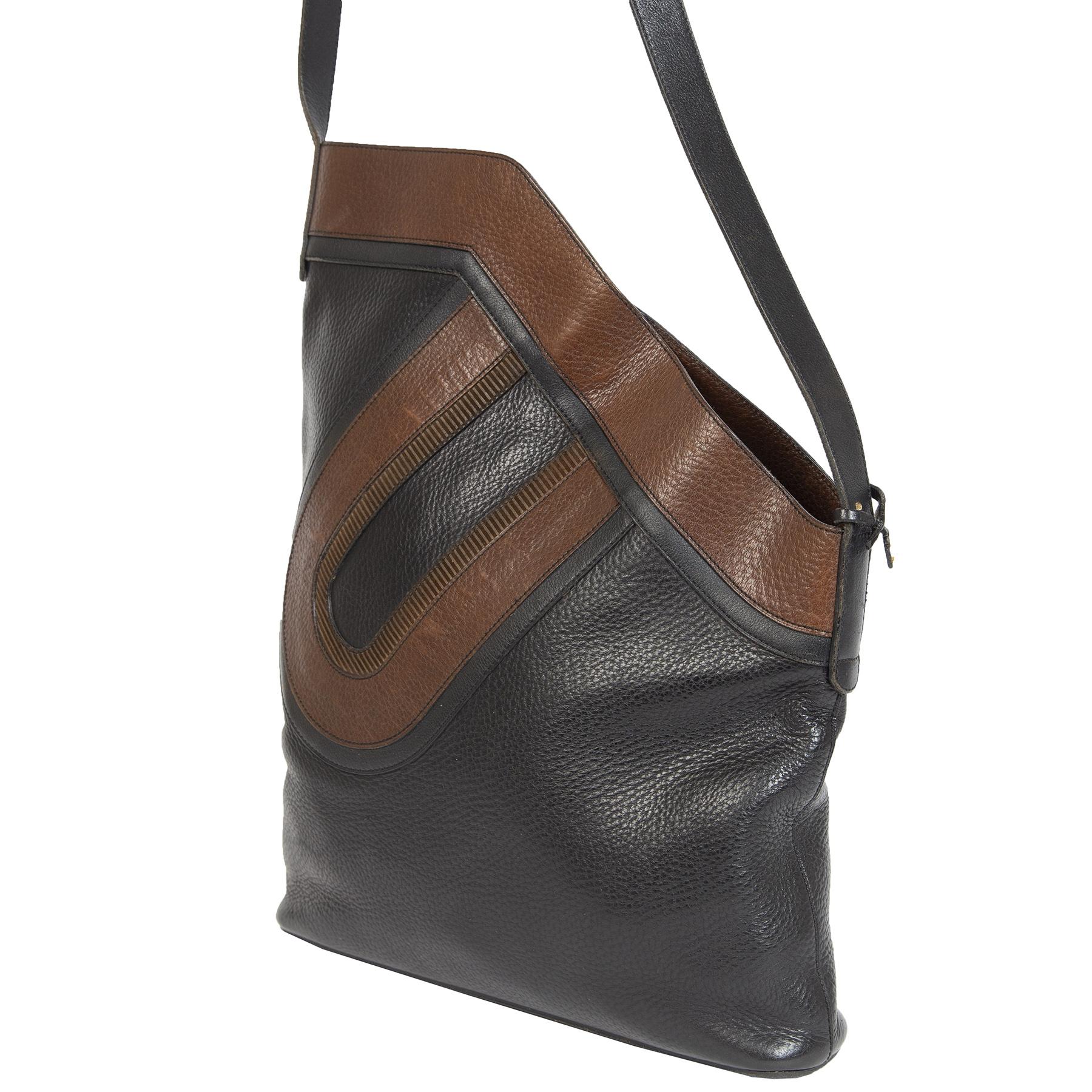 Authentieke Tweedehands Delvaux Brown Leather Crossbody Tote Bag juiste prijs veilig online shoppen luxe merken webshop winkelen Antwerpen België mode fashion