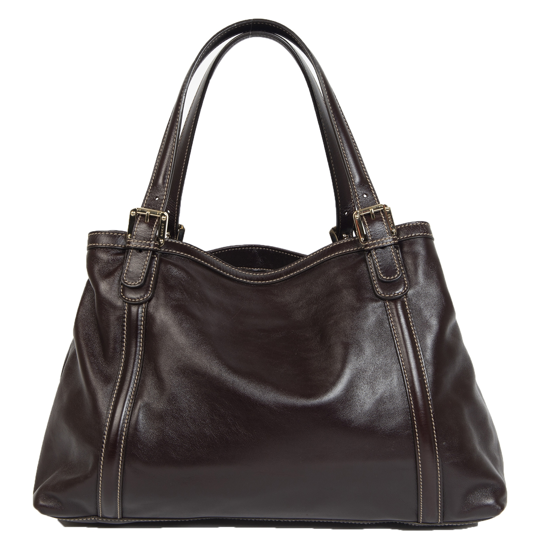 Gucci Interlocking GG Brown Leather Shopper