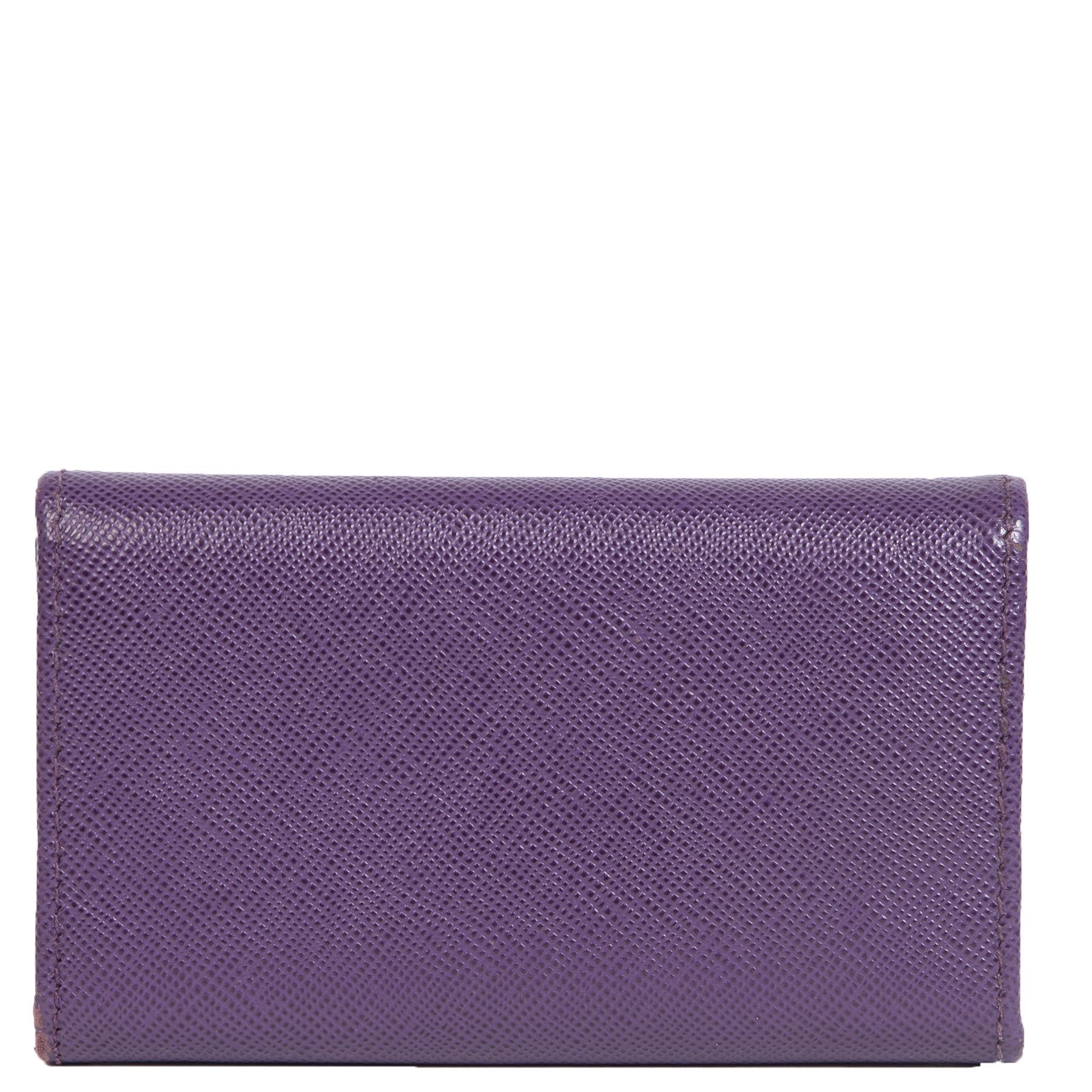 Authentieke Tweedehands Prada Purple Saffiano Leather Six Key Holder juiste prijs veilig online shoppen luxe merken webshop winkelen Antwerpen België mode fashion