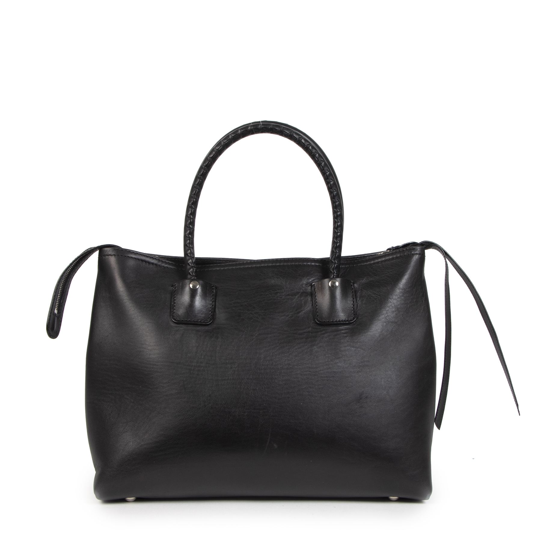 Authentieke Tweedehands Alexander McQueen Black Whip Stitch Folk Tote Top Handle Bag juiste prijs veilig online shoppen luxe merken webshop winkelen Antwerpen België mode fashion