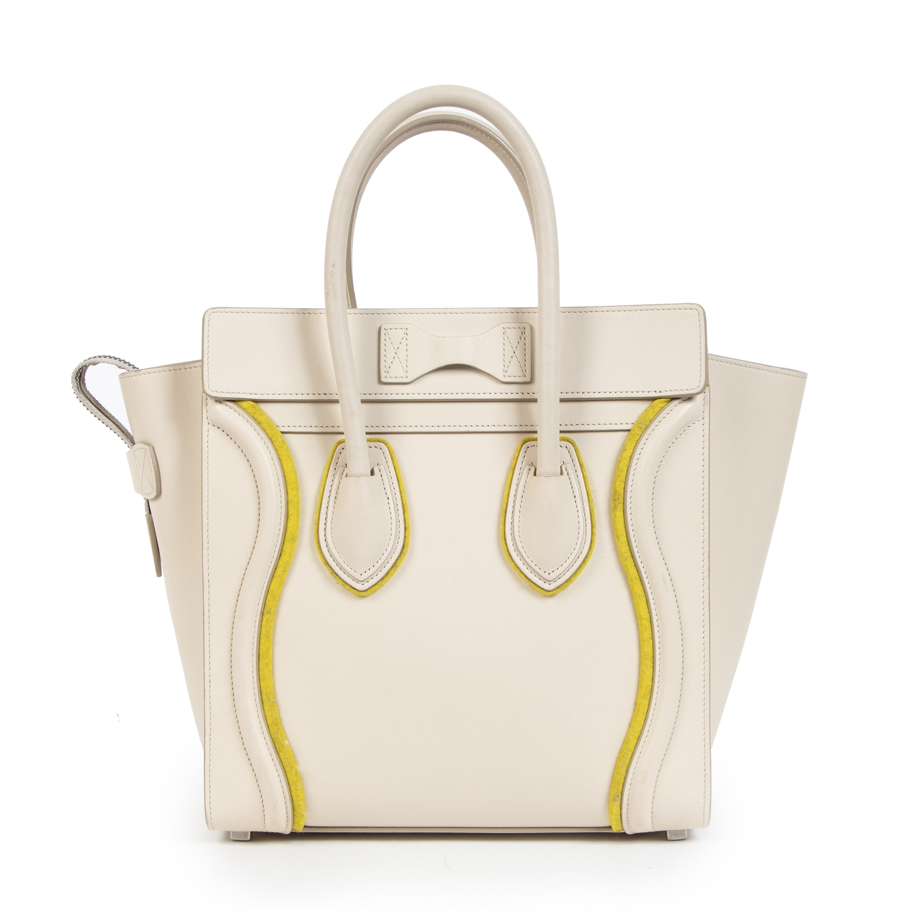 Authentic secondhand Céline Felt Beige and Yellow Leather Luggage Bag designer bags fashion luxury vintage webshop safe secure online shopping worldwide shipping