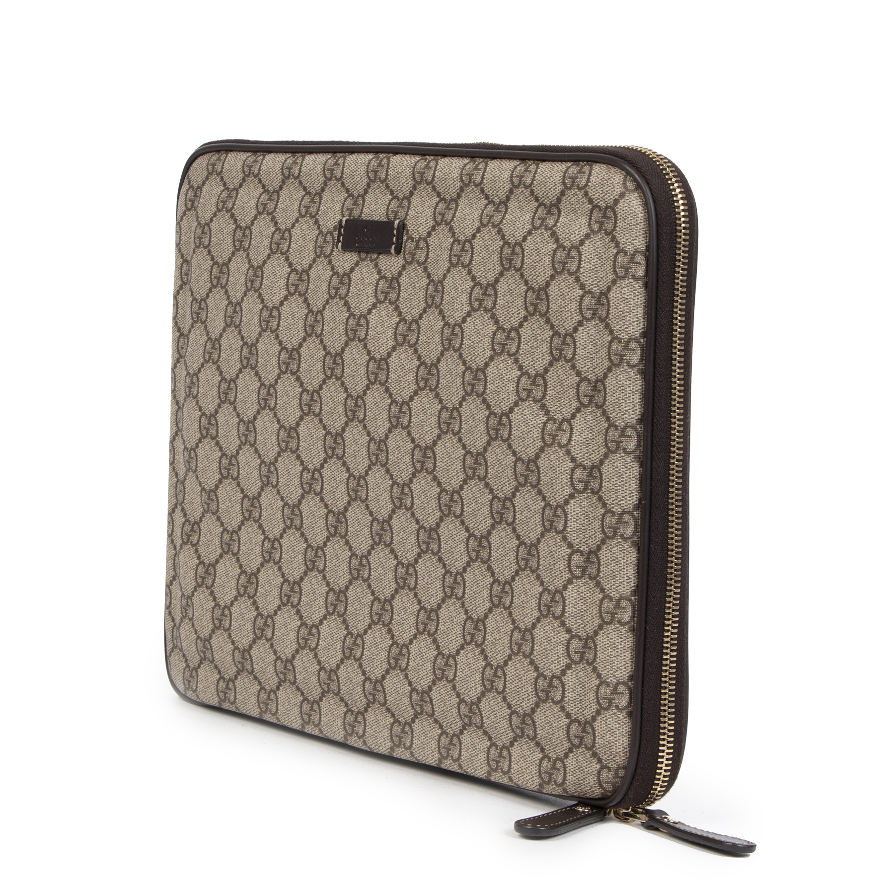 Authentique seconde main vintage Gucci GG Monogram Laptop Sleeve achète en ligne webshop LabelLOV