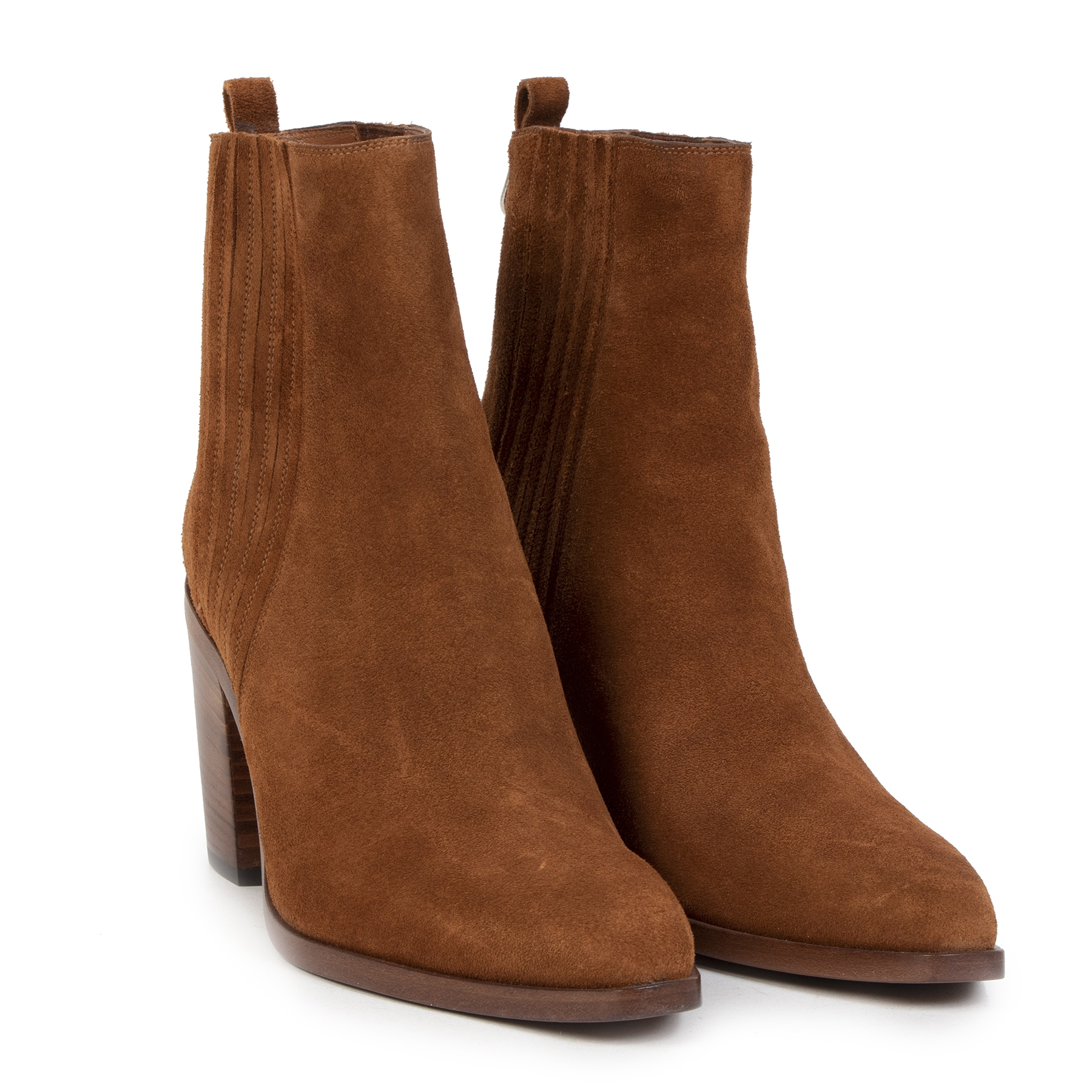 Authentieke Tweedehands Sartore Brown Suede Mid Heel Ankle Boots - Size 39 juiste prijs veilig online shoppen luxe merken webshop winkelen Antwerpen België mode fashion
