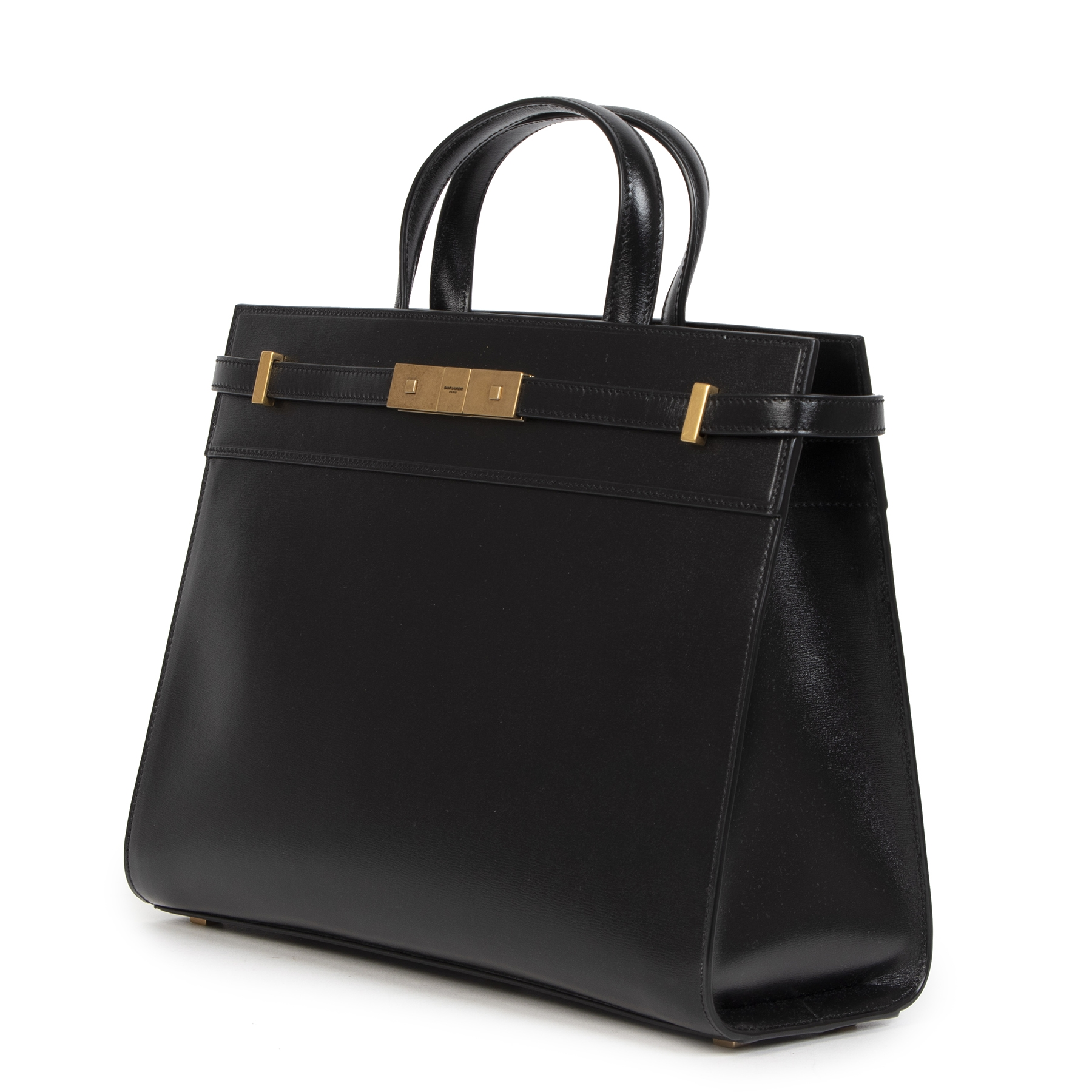 Authentieke Tweedehands Saint Laurent Black Manhatten Top Handle Bag juiste prijs veilig online shoppen luxe merken webshop winkelen Antwerpen België mode fashion