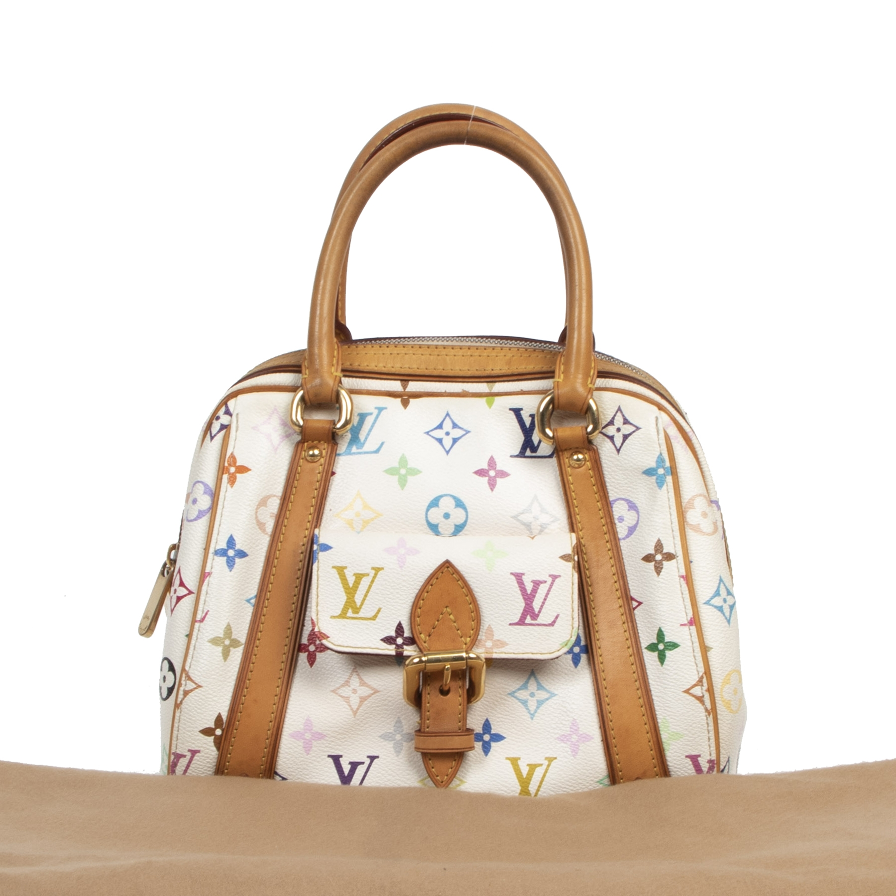 Authentic secondhand Louis Vuitton Priscilla White Multicolore Monogram Handbag designer bags fashion luxury vintage webshop safe secure online shopping