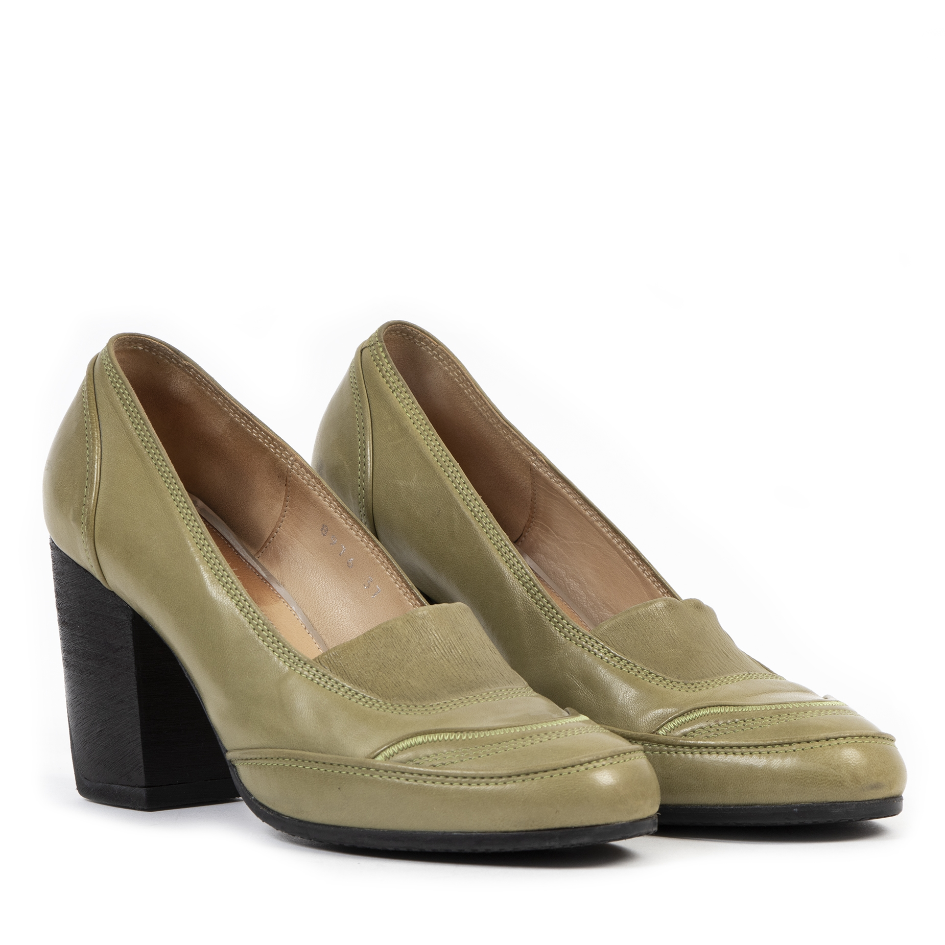 Authentic secondhand Dries Van Noten Light Green Leather Pumps - Size 37 designer shoes luxury vintage webshop safe secure online shopping