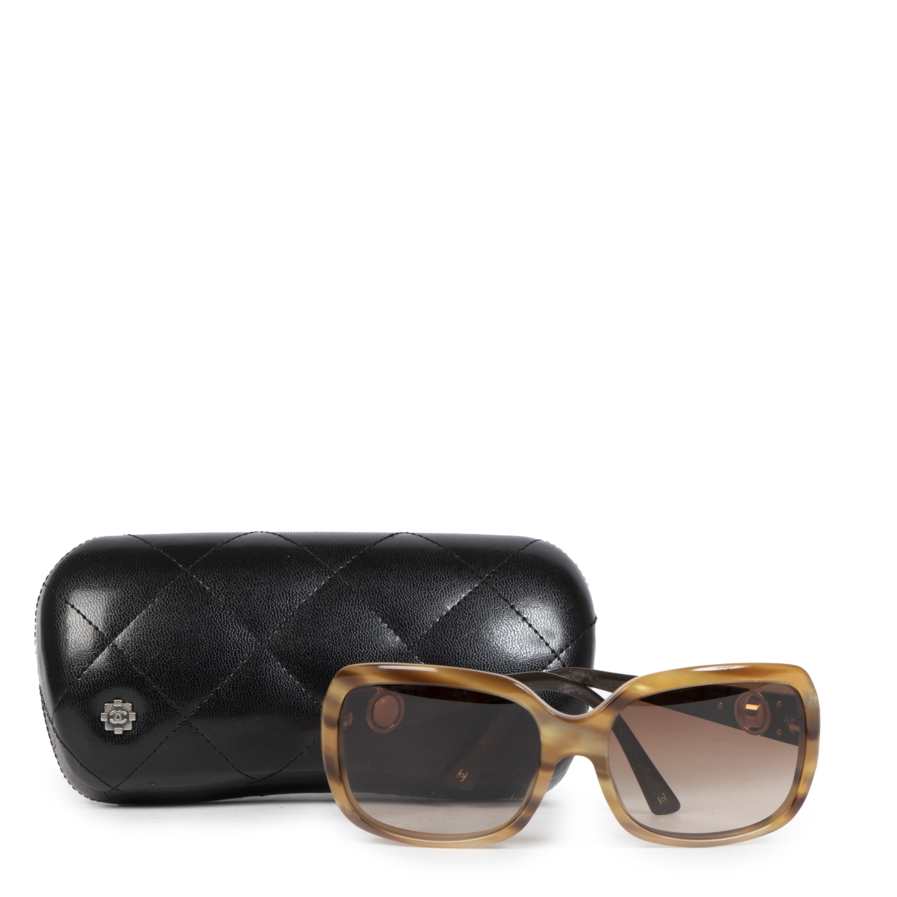 Authentic second-hand vintage Chanel Tortoise Square Sunglasses buy online webshop LabelLOV