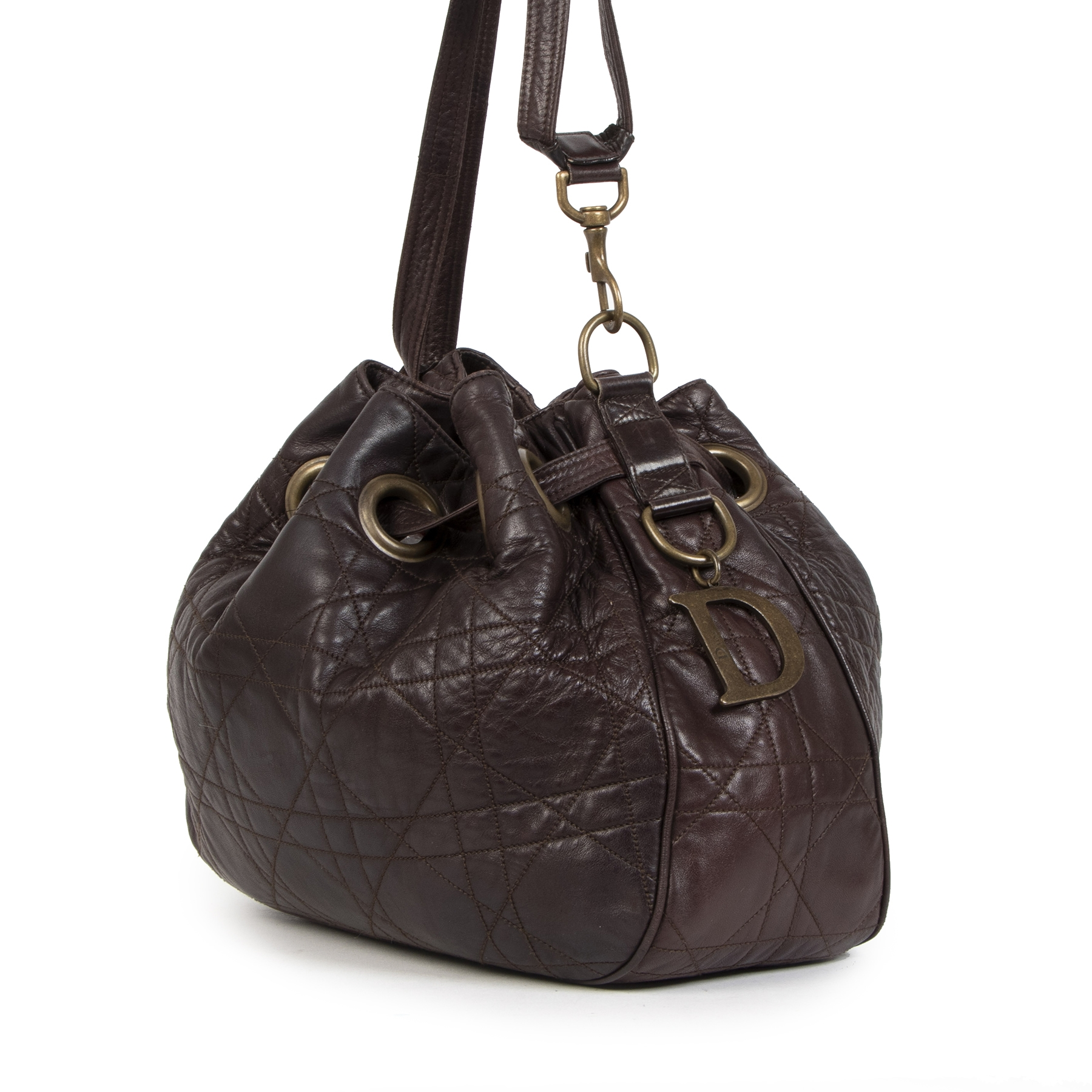 Christian Dior Cannage Leather Brown Bucket  Bag
