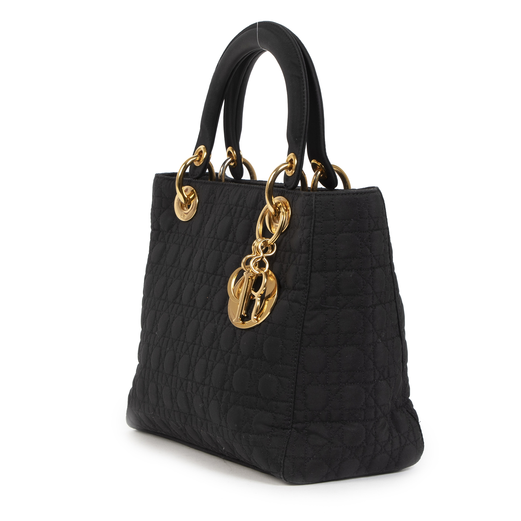 acheter en ligne pour le meilleur prix Lady Dior Black Quilted Cannage Nylon Medium Top Handle Bag