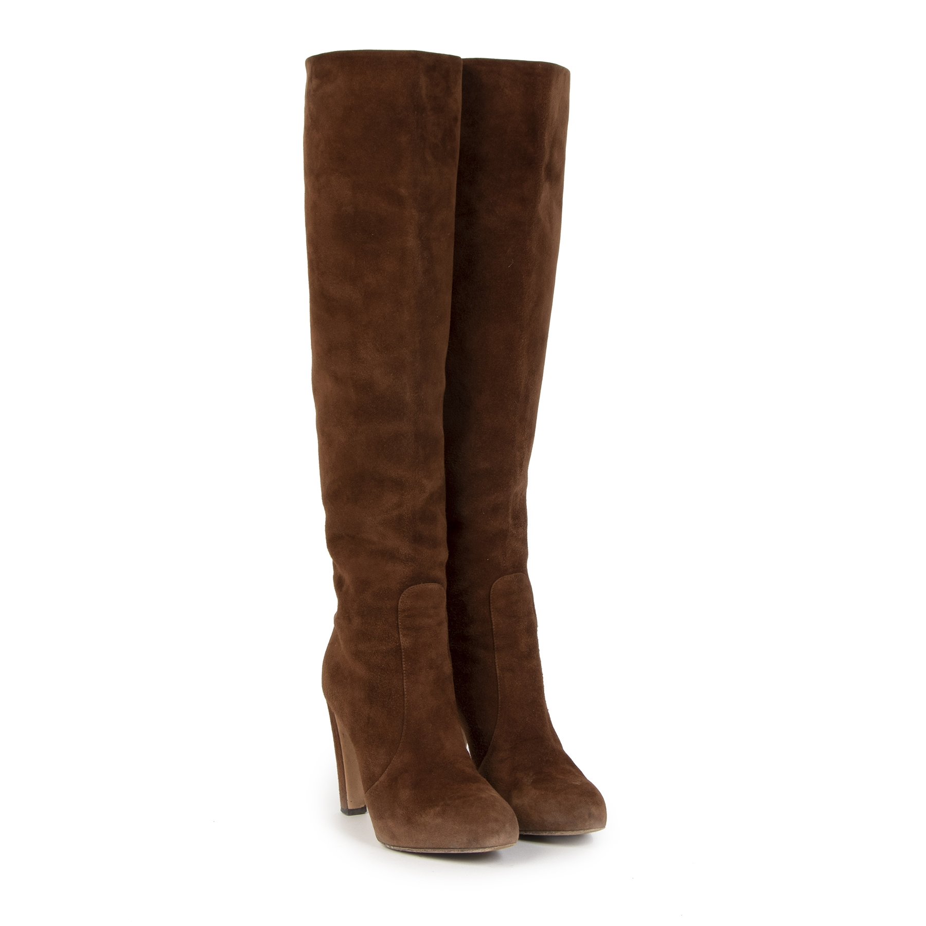 Authentic second-hand vintage Gianvito Rossi Brown Suede Knee Boots - size 38 buy online webshop LabelLOV