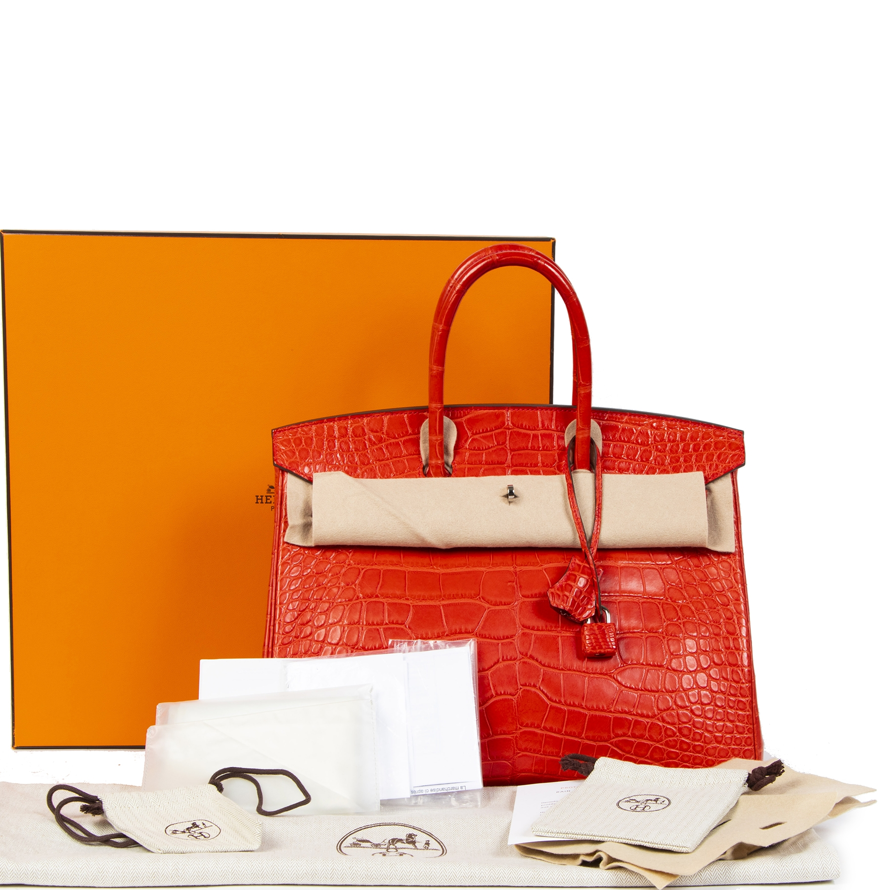 limited collectors item Hermès Birkin 35 Matt Alligator Geranium PHW geranium PHW full set invoice included