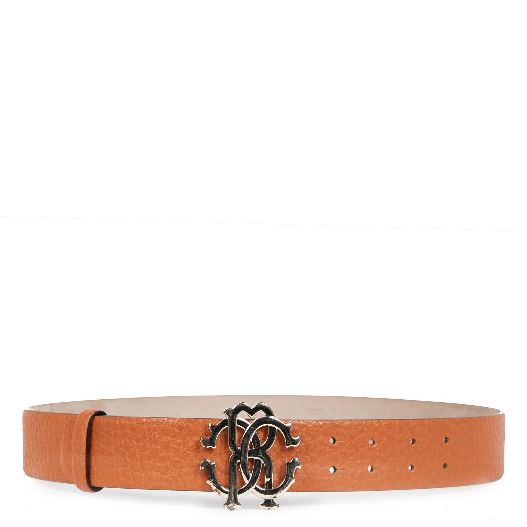 Authentieke Tweedehands Roberto Cavalli Orange Leather Belt juiste prijs veilig online shoppen luxe merken webshop winkelen Antwerpen België mode fashion