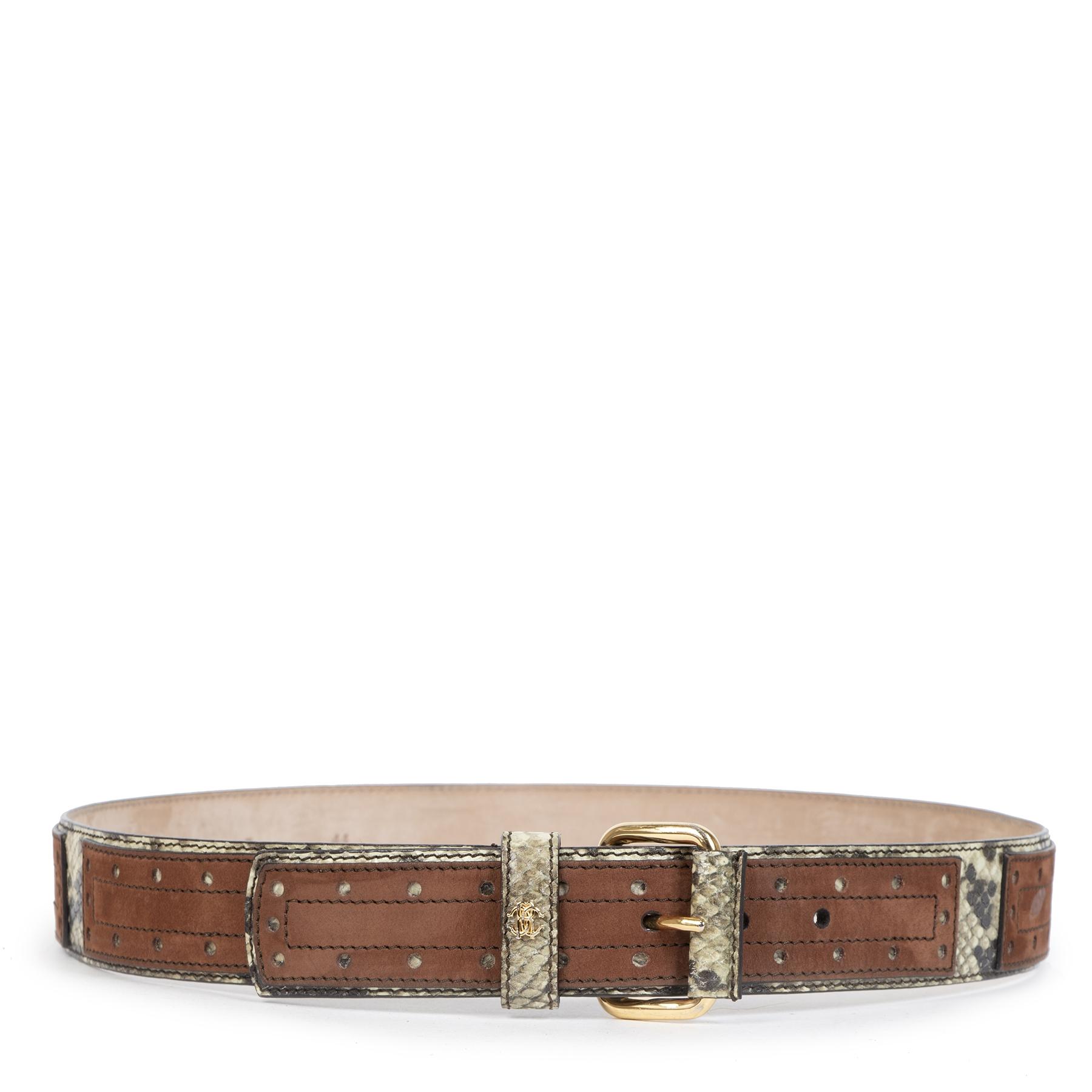 Authentieke tweedehands vintage Roberto Cavalli Python Belt - Size 90 koop online webshop LabelLOV