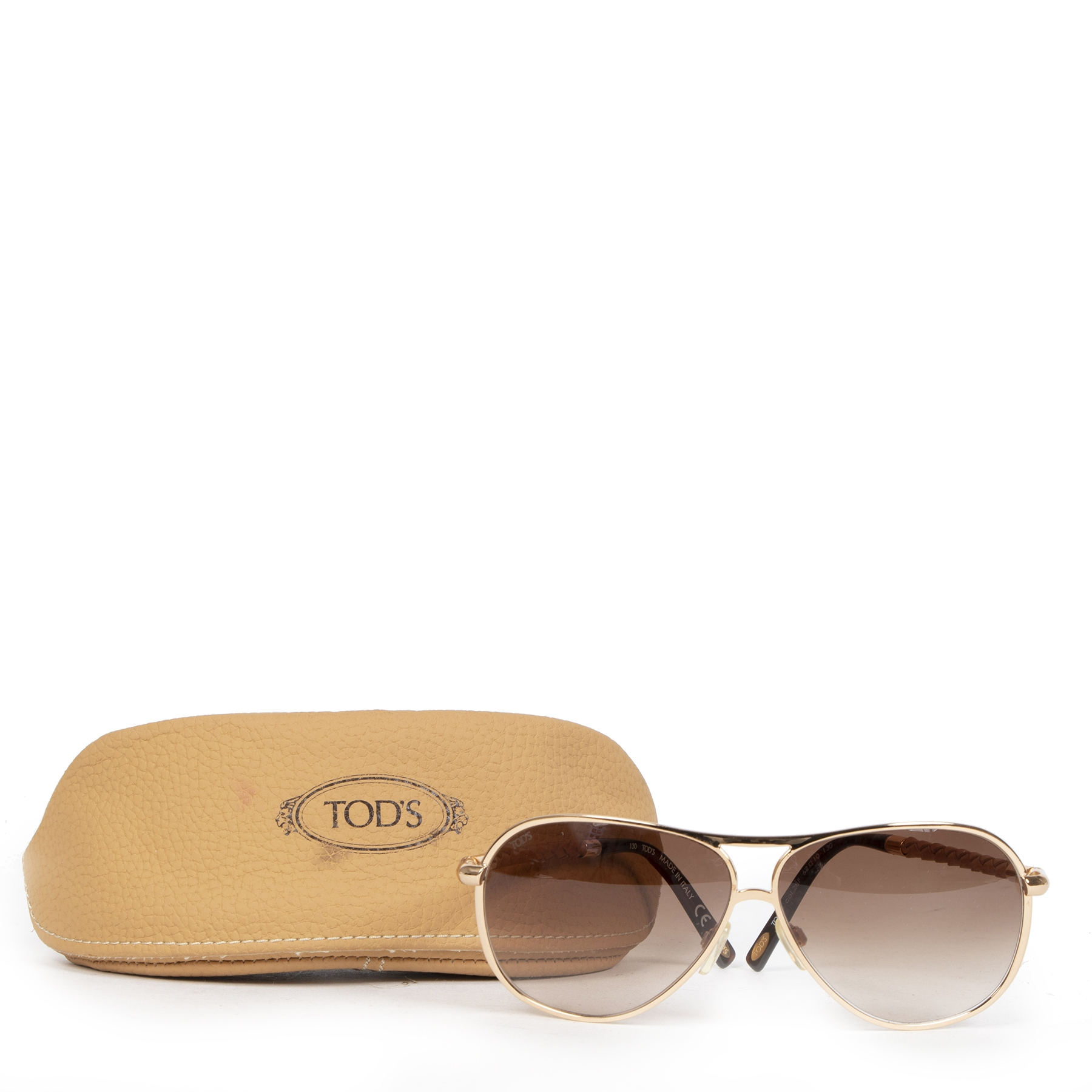 Authentic secondhand TOD'S Leather Woven Temple Aviator Sunglasses designer accessories designer brands luxury vintage webshop fashion safe secure online shopping worldwide shipping