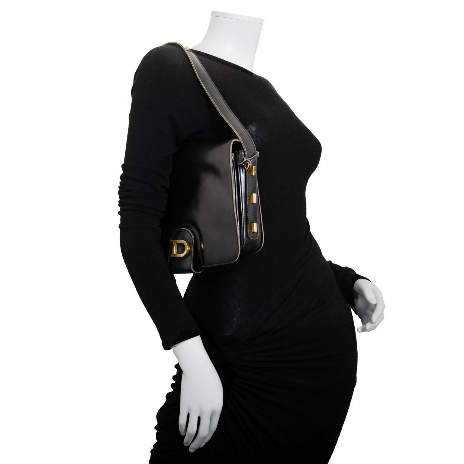 delvaux zwarte lederen tas nu te koop bij labellov vintage mode webshop belgië