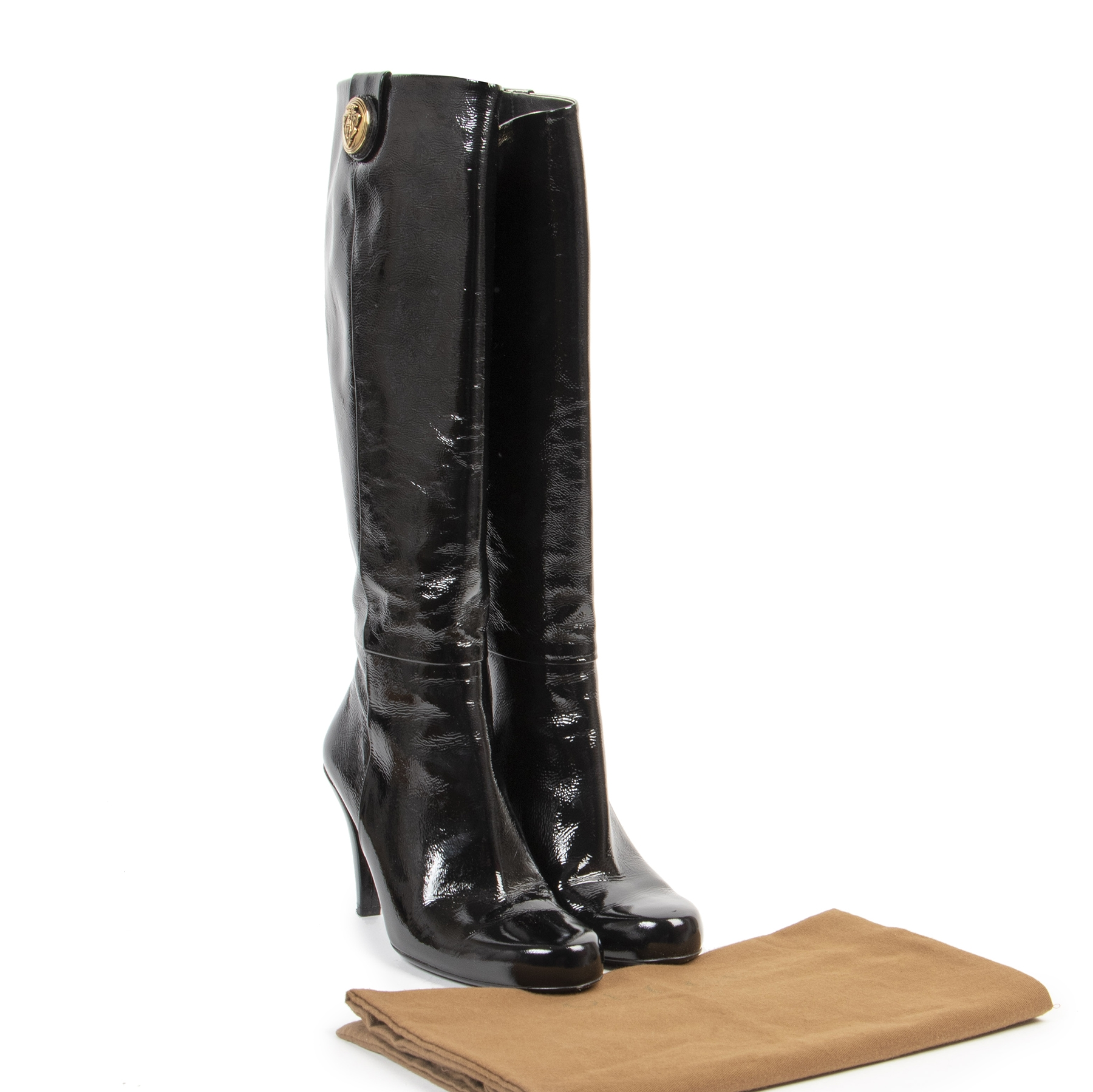 Buy and sell your authentic Gucci Black Patent Leather Knee Hight Boots