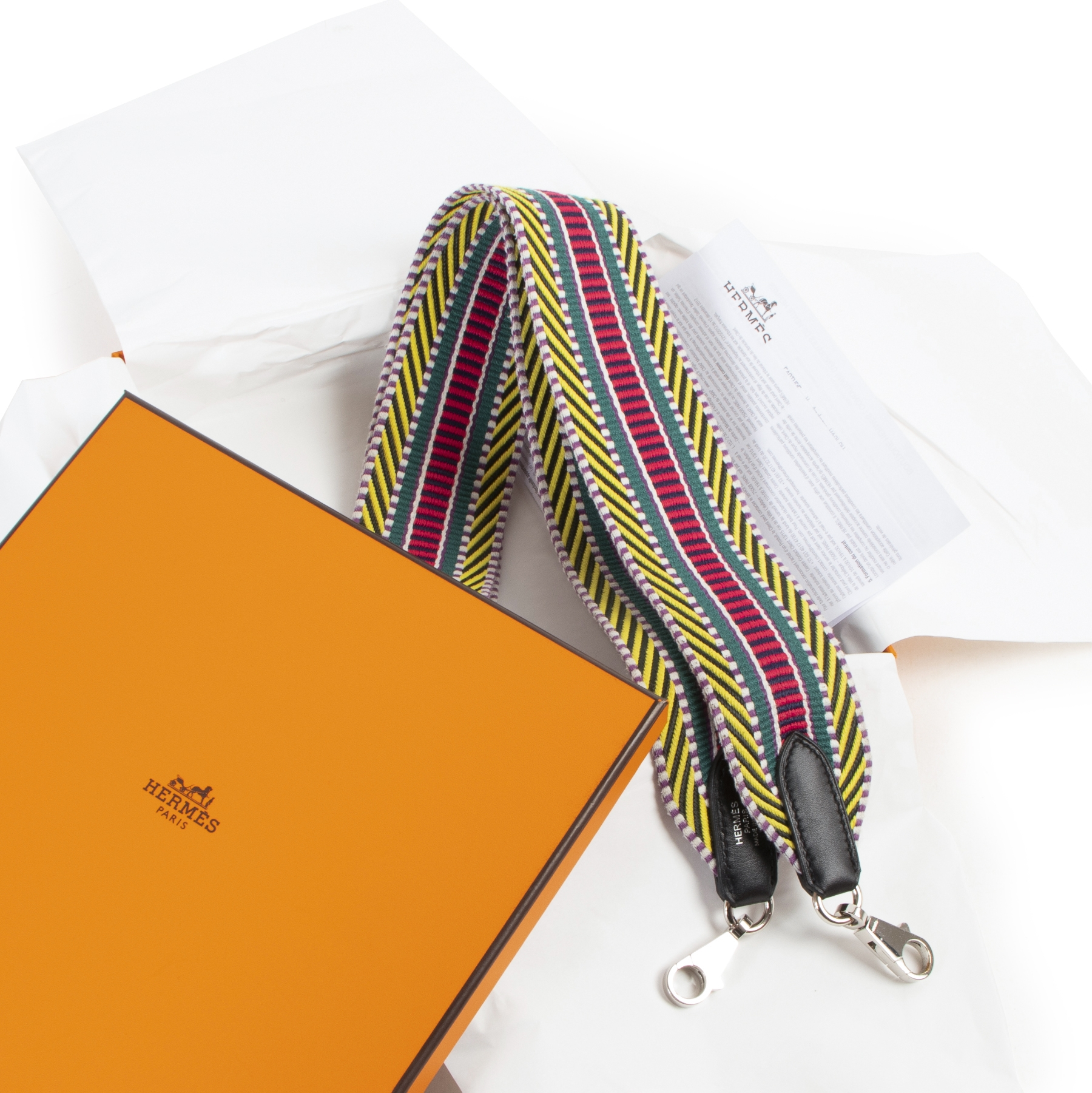 Hermès Multicolour Band 50MM Sangle Cavale/Veau Swift Bag Strap. Authentieke tweedehands Hermès accessoires bij LabelLOV Antwerpen. Authentique seconde-main luxury en ligne webshop LabelLOV. Authentic preloved Hermès bag strap accessories at LabelLOV Antw