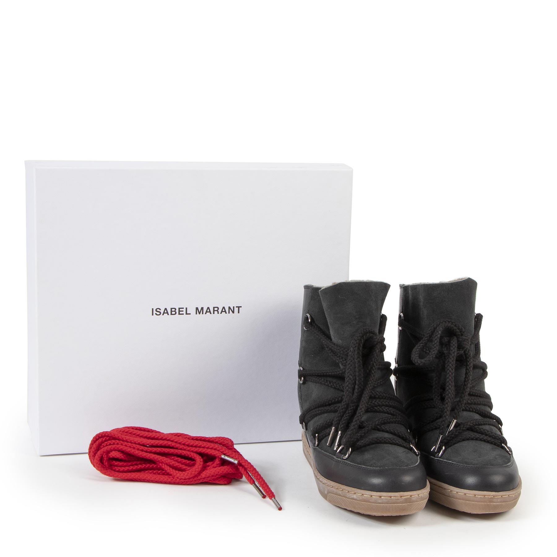 Bent u op zoek naar een authentieke designer Isabel Marant 'Nowles' Black Shearling Boots - size 38