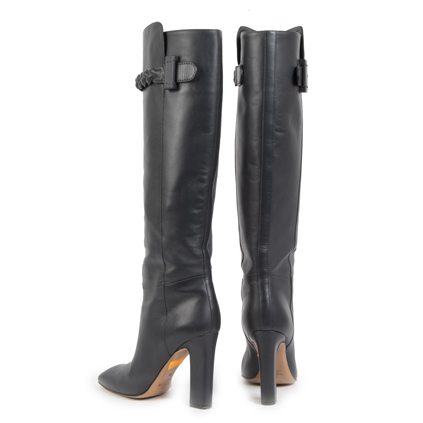 Authentieke Tweedehands Valentino Dark Grey Knee High Braided Boots - Size 38 juiste prijs veilig online shoppen luxe merken webshop winkelen Antwerpen België mode fashion