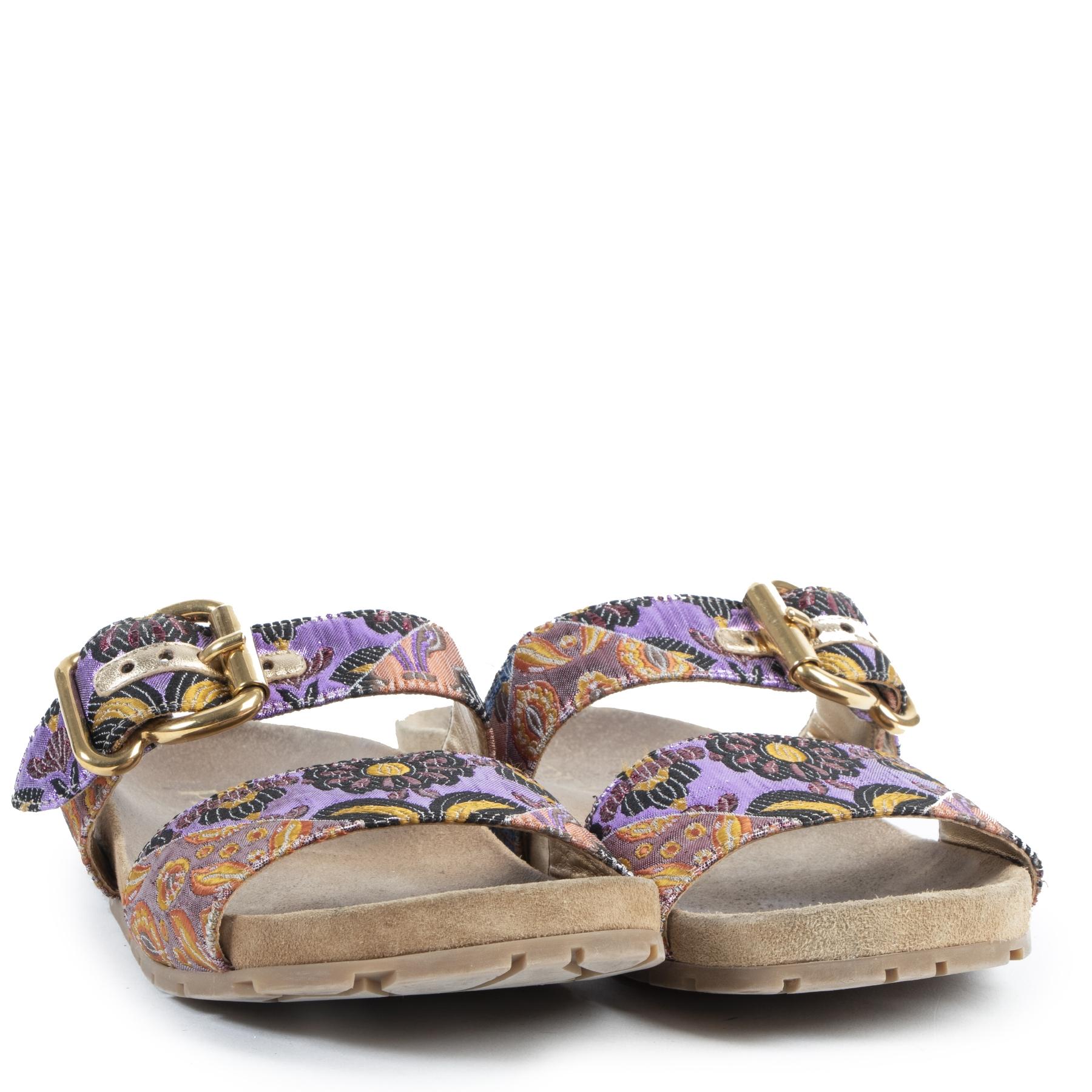 Authentieke Tweedehands Prada Purple Floral Embroidered Sandals - Size 38,5  juiste prijs veilig online shoppen luxe merken webshop winkelen Antwerpen België mode fashion