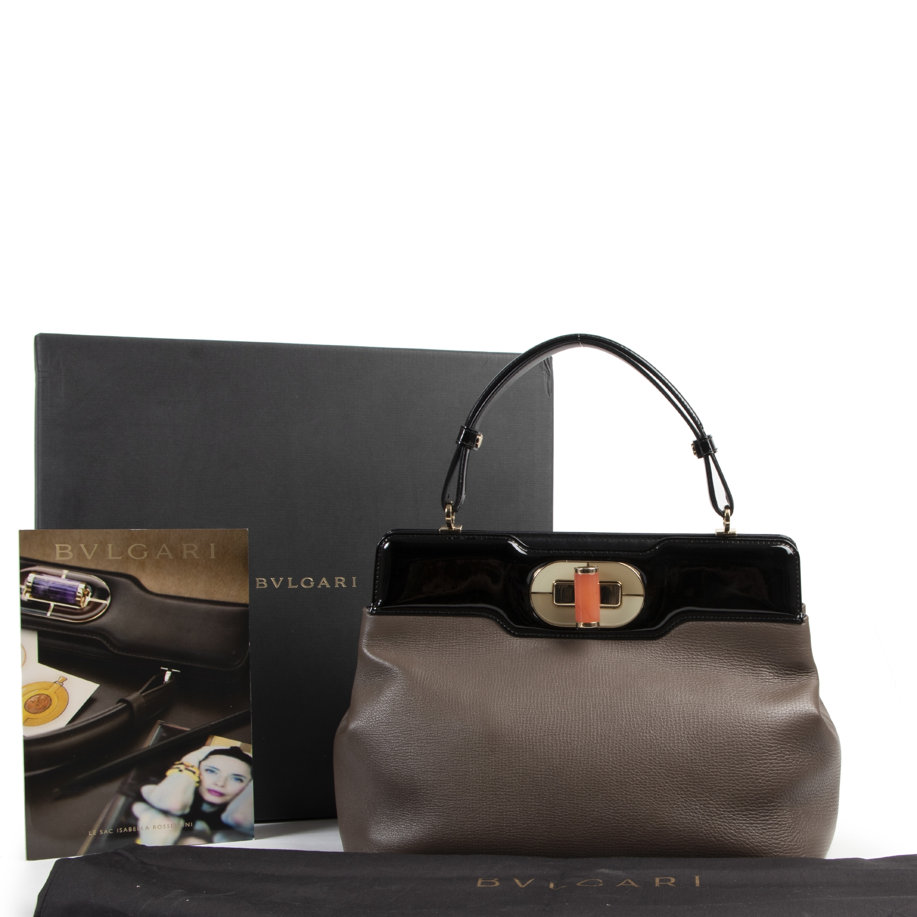 Authentic secondhand Bulgari Taupe Isabella Rosellini Tote Bag designer bags fashion luxury vintage webshop safe secure online shopping
