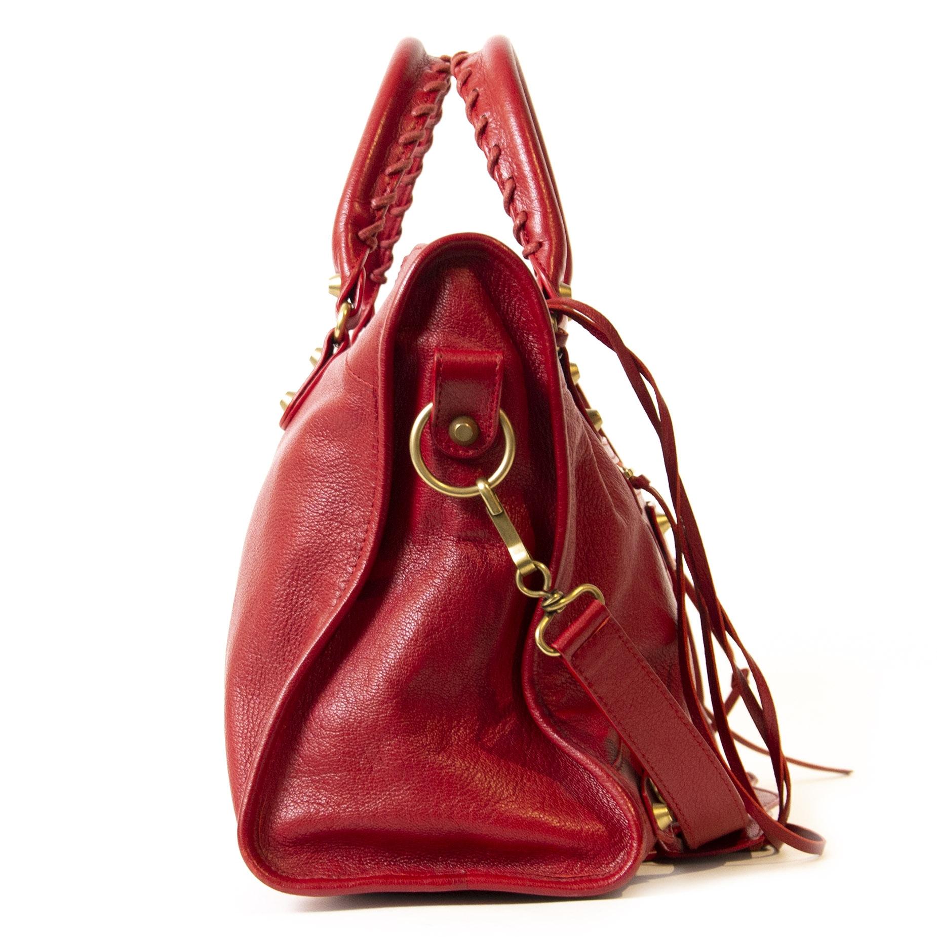 Authentieke Tweedehands Balenciaga Red Leather City Bag juiste prijs veilig online shoppen winkelen Antwerpen België mode fashion luxe merken