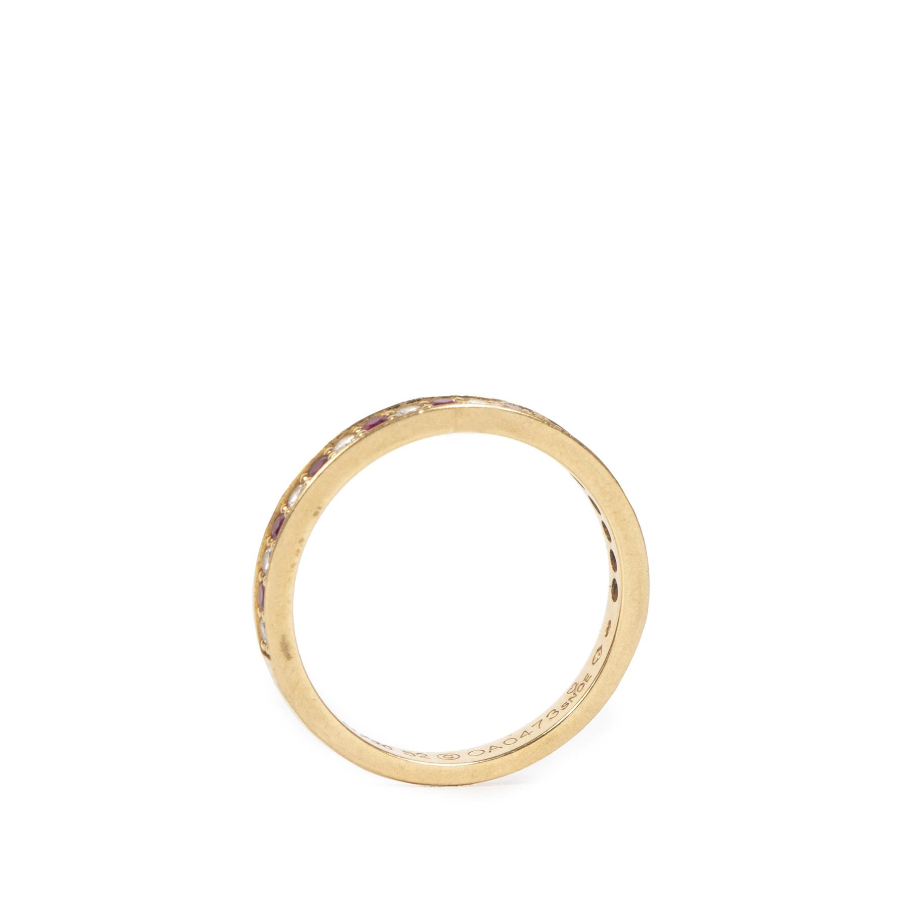 Authentieke Tweedehands Cartier Gold Half Eternity Diamond Ruby 18 Karat Ring juiste prijs veilig online shoppen luxe merken webshop winkelen Antwerpen België gouden ring 18 karaat