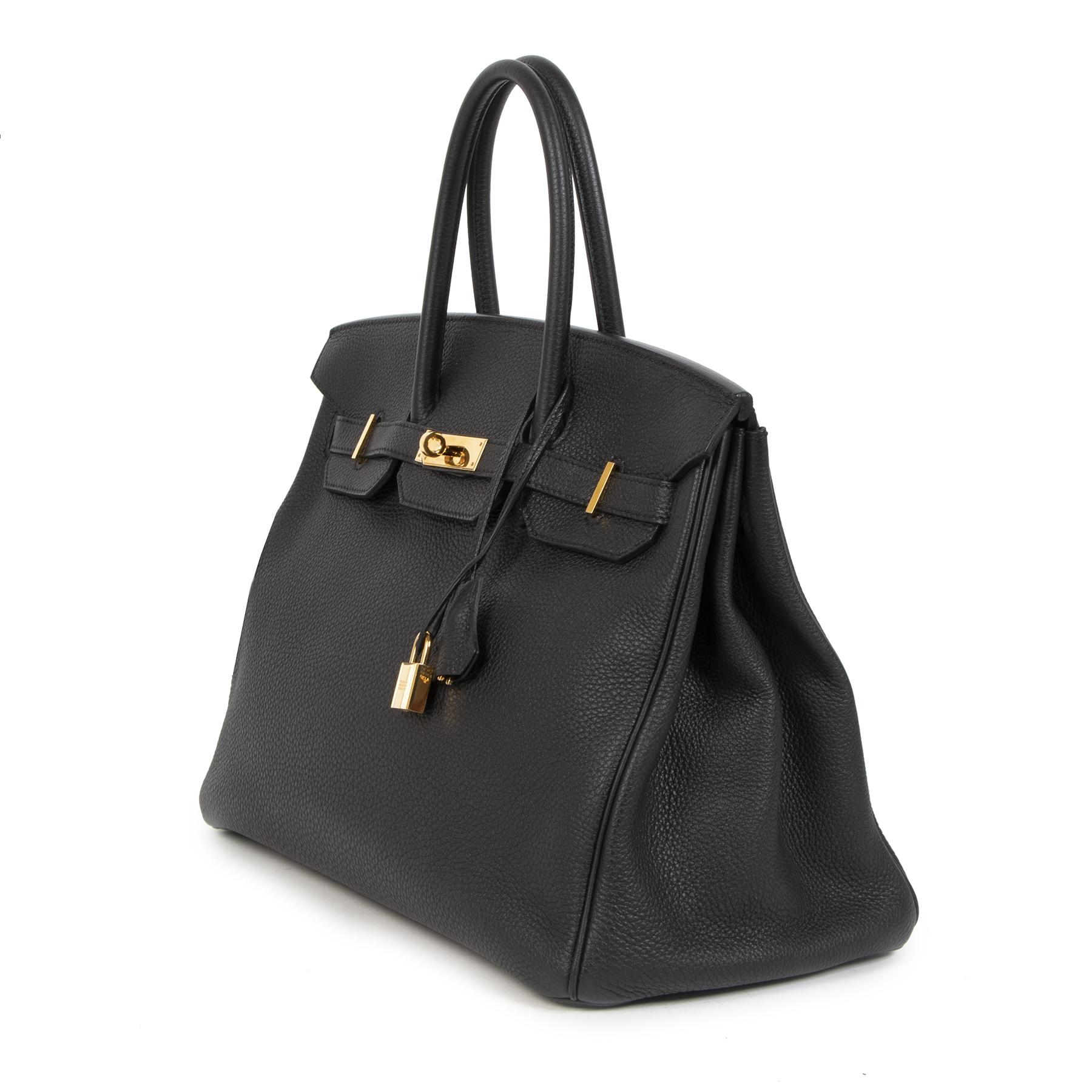 koop veilig online jou tweedehands As New Hermes Birkin 35 Black Togo GHW