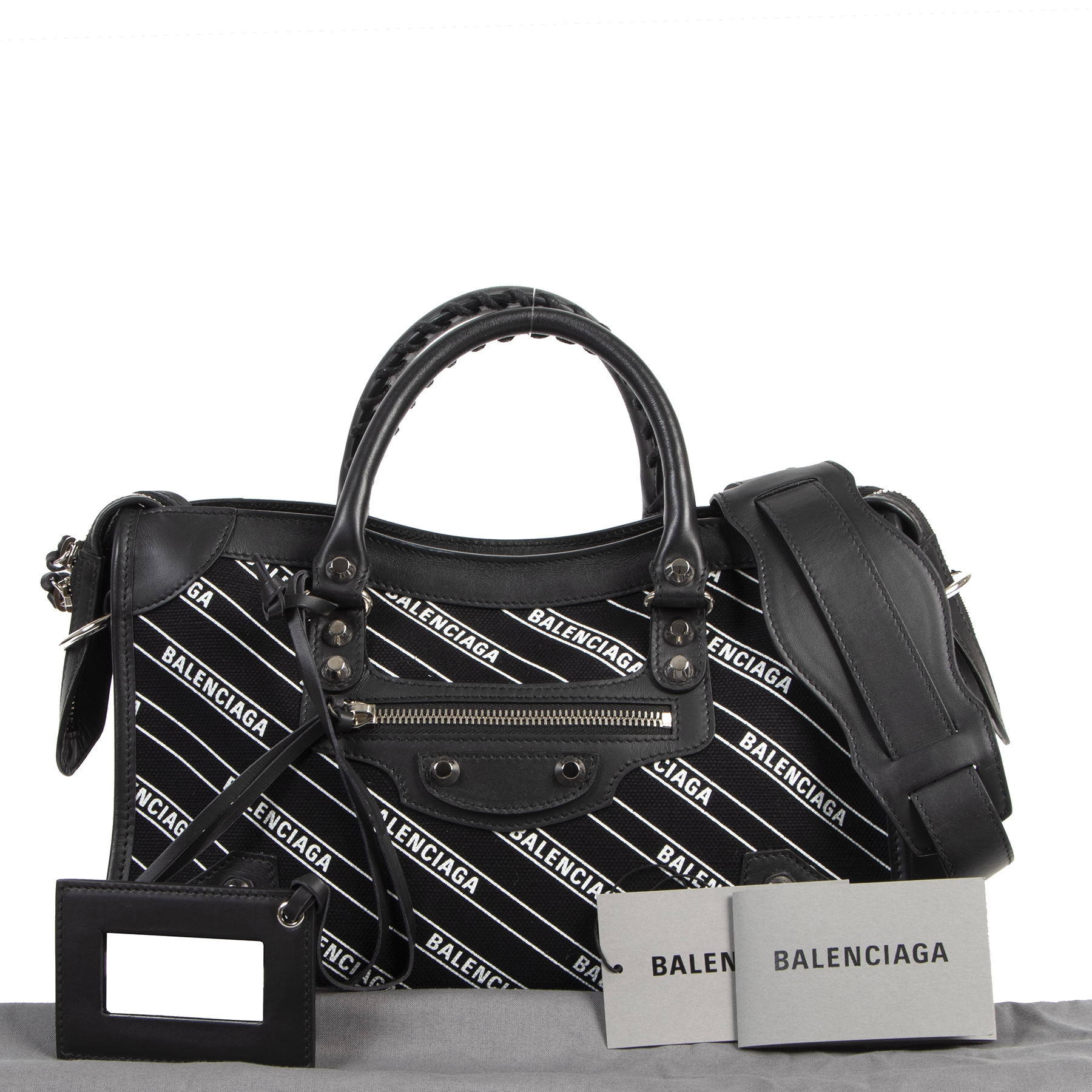 Balenciaga City S Black Leather And Logo Fabric Bag