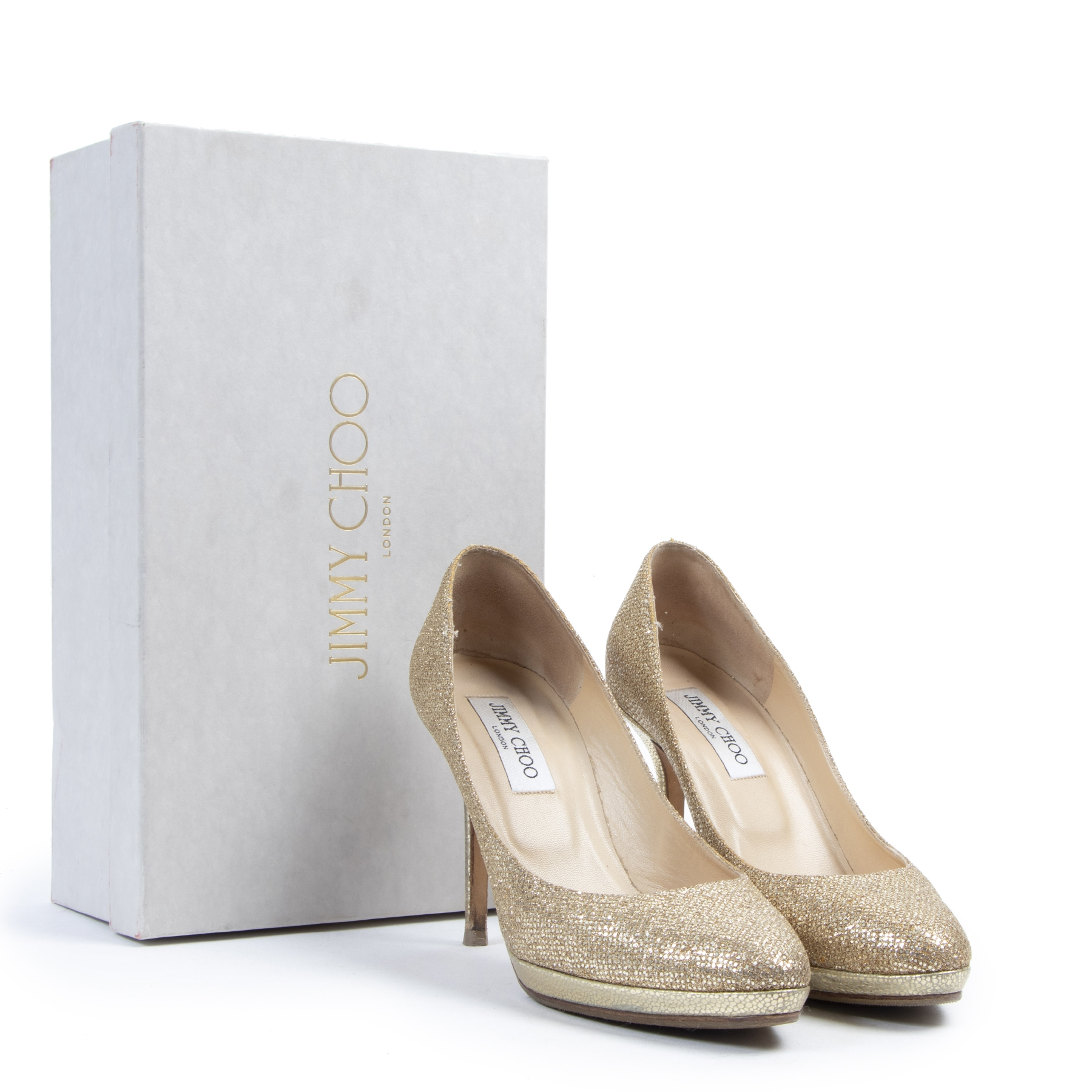 Authentic secondhand Jimmy Choo Gold Glitter Pumps - Size 39 designer shoes luxury vintage webshop safe secure online shopping