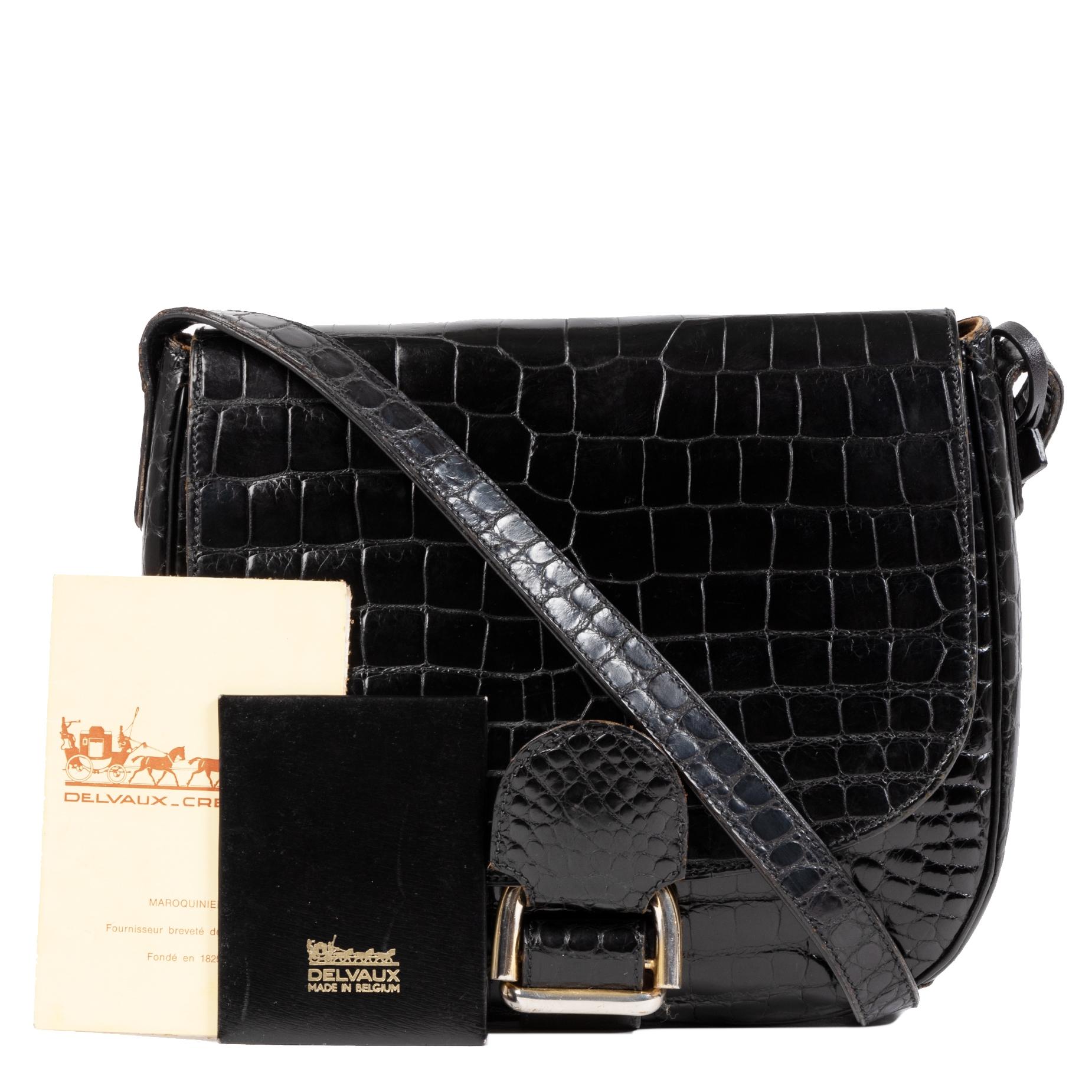 Koop uw authentieke designer Delvaux Black Cavaliere Croco Shoulder Bag