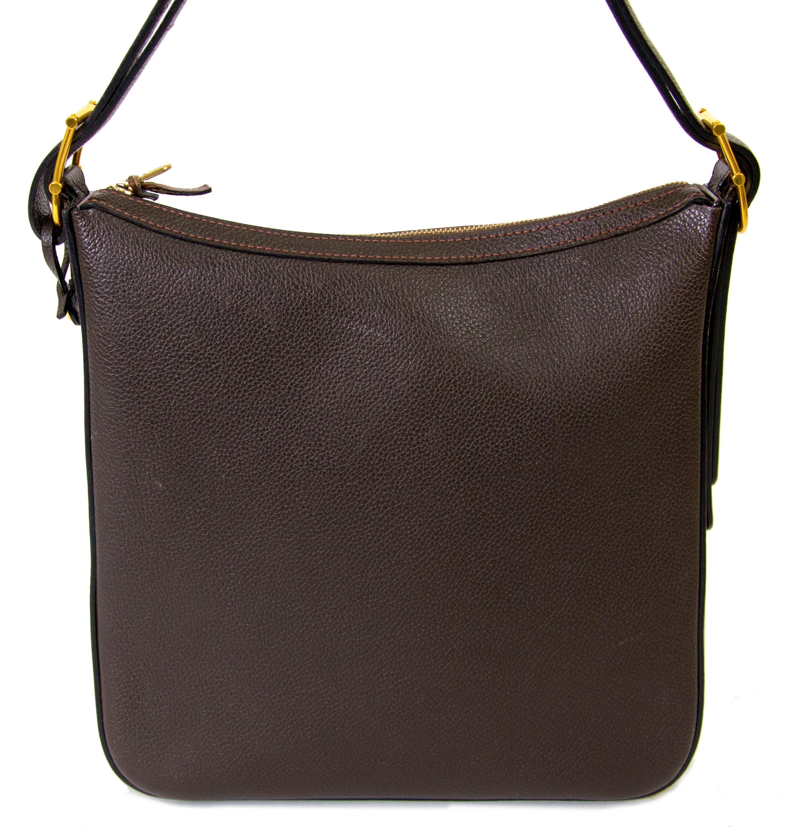 achetez  Delvaux Brown Leather Shoulderbag et payez secure on ligne