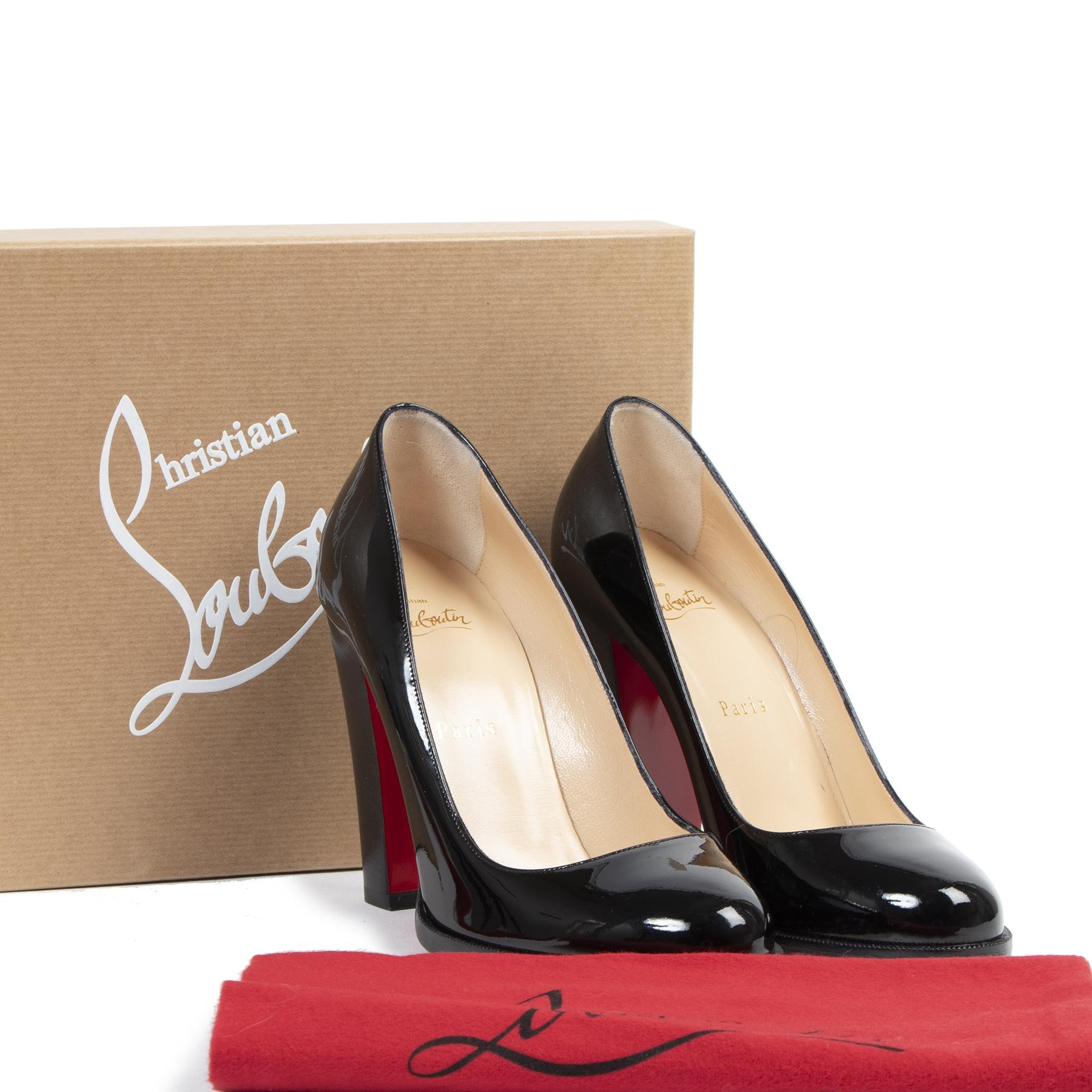 Authentique seconde-main vintage Christian Louboutin London B 100 Patent Leather Heels - Size 38,5 achète en ligne webshop LabelLOV