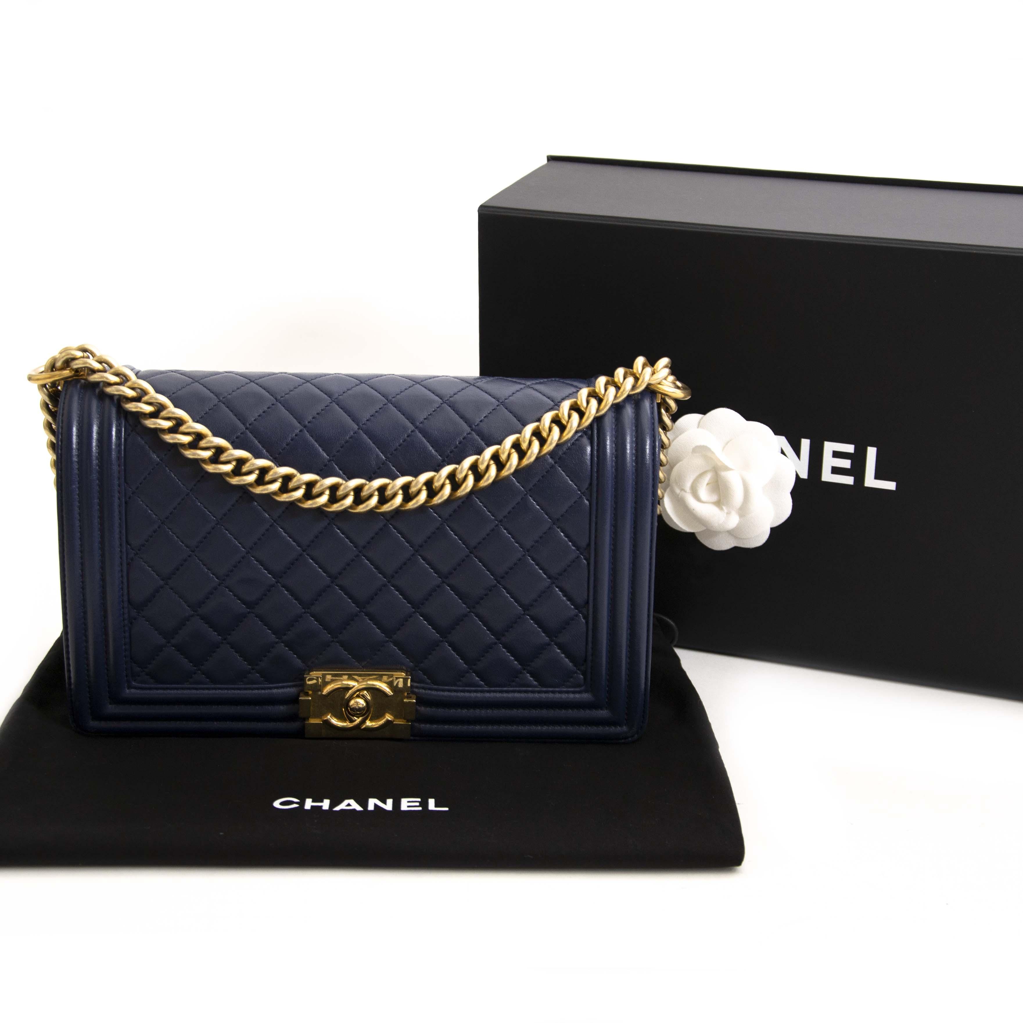 c972d4c23fac ... 100% worldwide shipping authentic luxury Chanel Blue Lambskin New  Medium Boy Bag