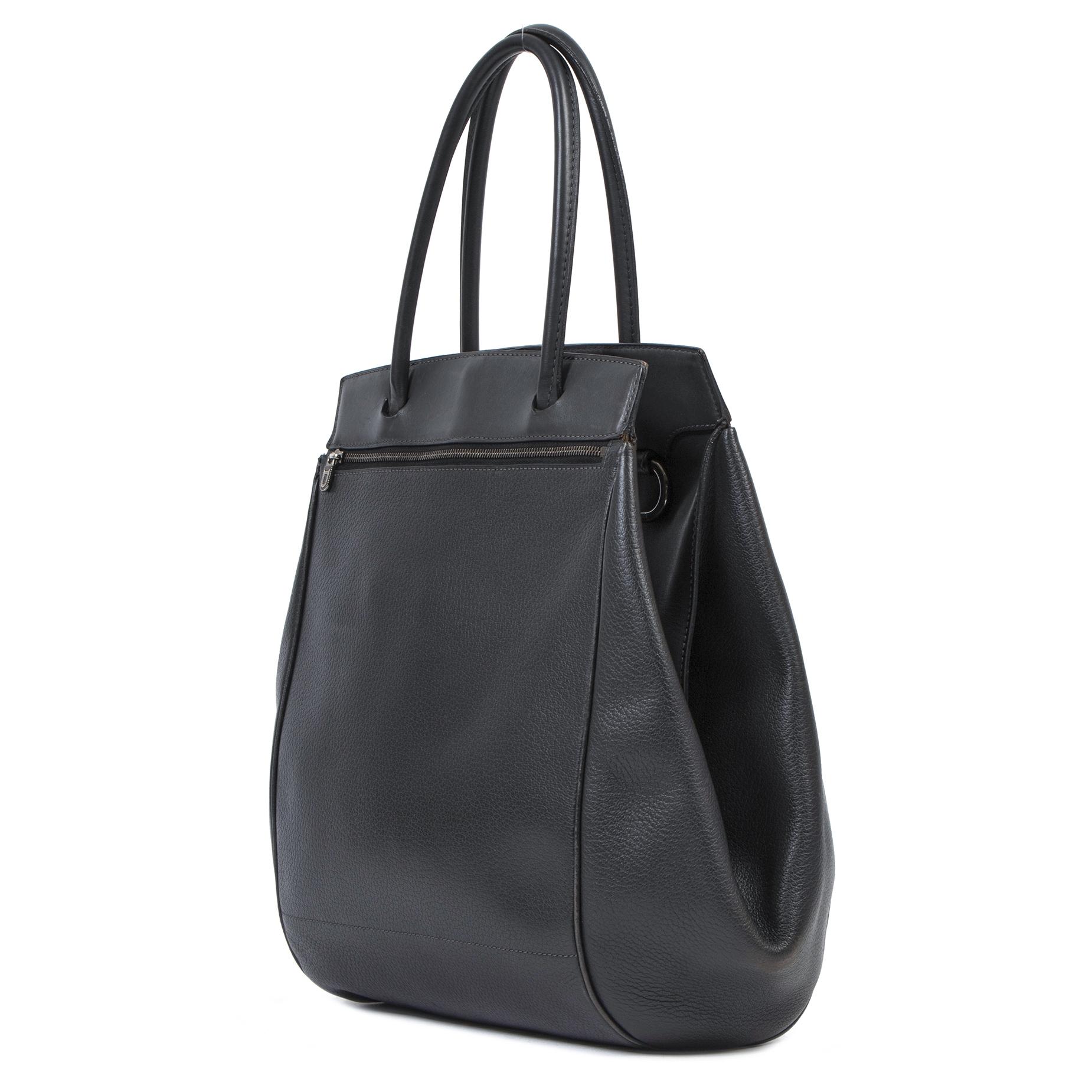 Authentieke Tweedehands Delvaux Grey Baladin Bag juiste prijs veilig online shoppen luxe merken webshop winkelen Antwerpen België mode fashion
