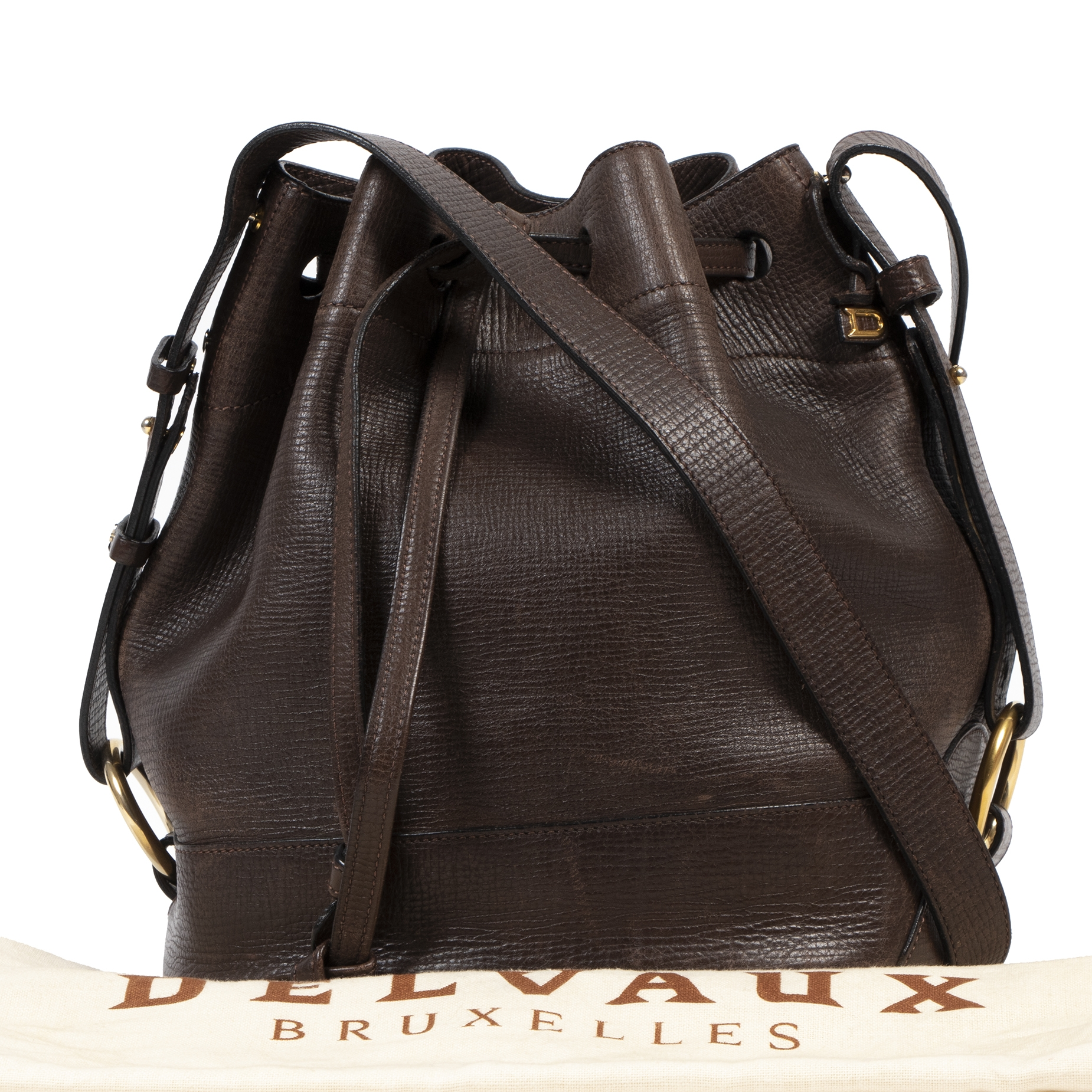 Authentique seconde-main vintage Delvaux Brown Leather Bucket Bag achète en ligne webshop LabelLOV