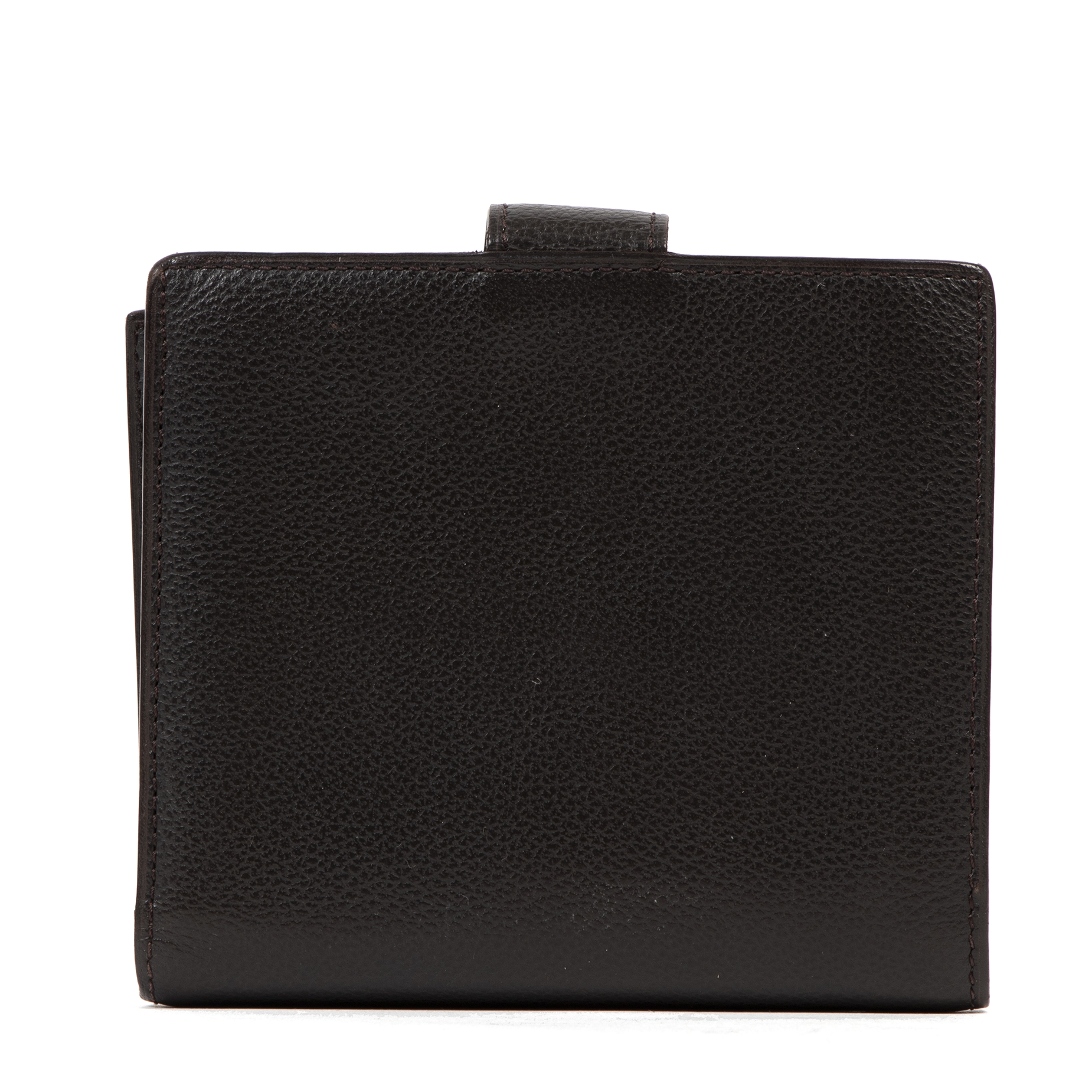 Authentic second-hand vintage Delvaux Chocolate Compact Wallet buy online webshop LabelLOV